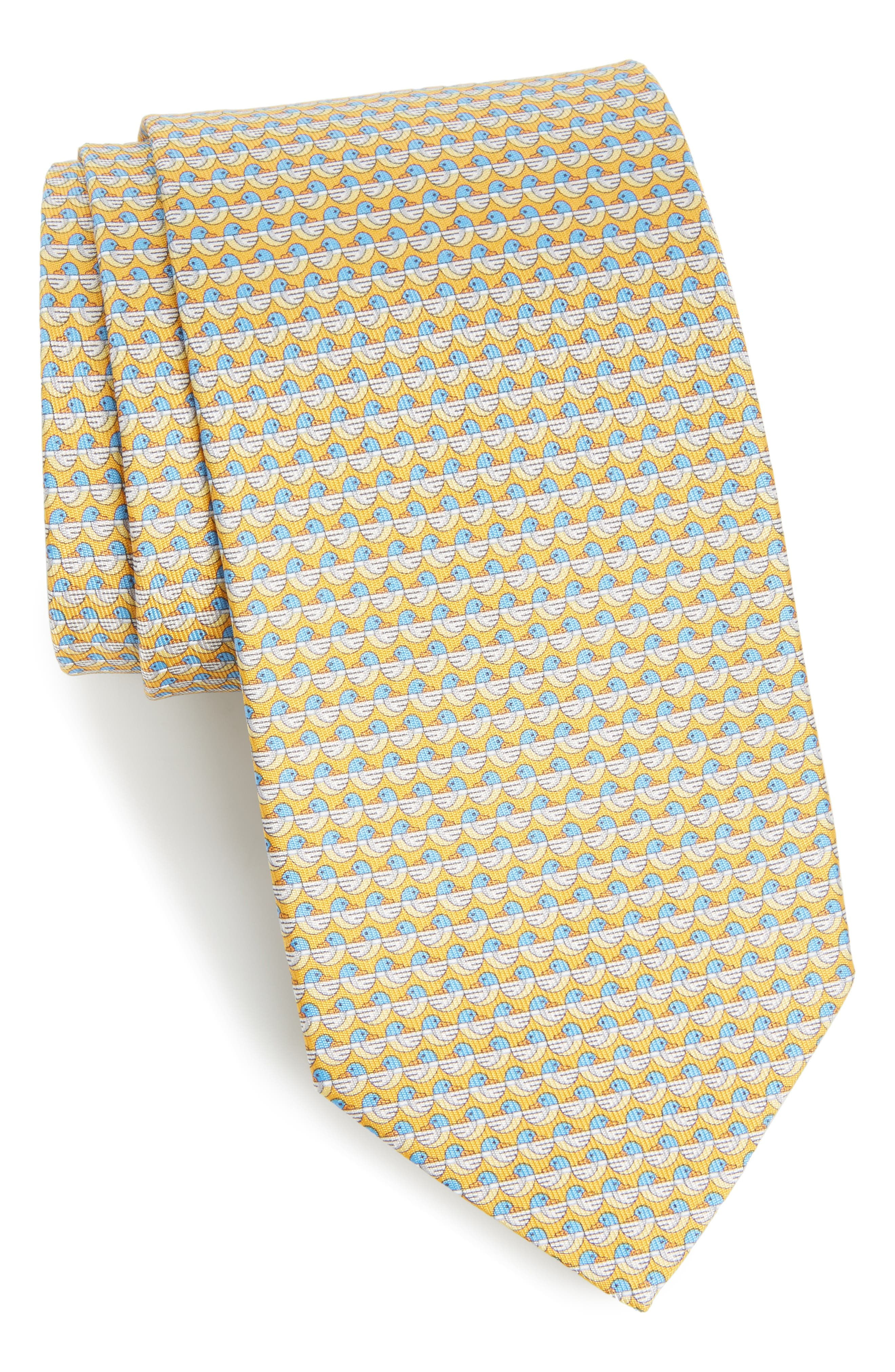 Salvatore Ferragamo Duck Print Silk Tie