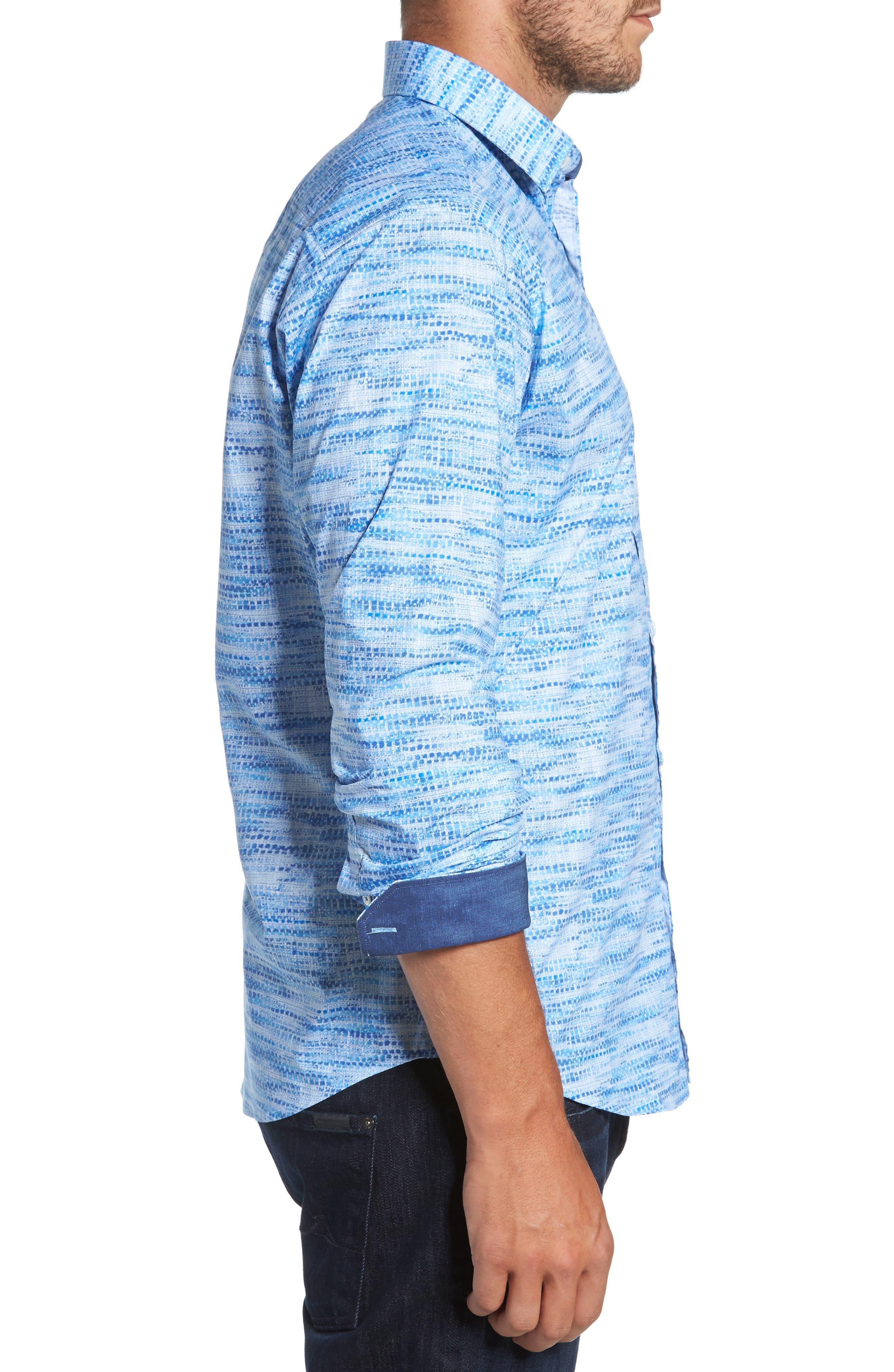 Classic Fit Weave Print Sport Shirt,                             Alternate thumbnail 3, color,                             Classic Blue