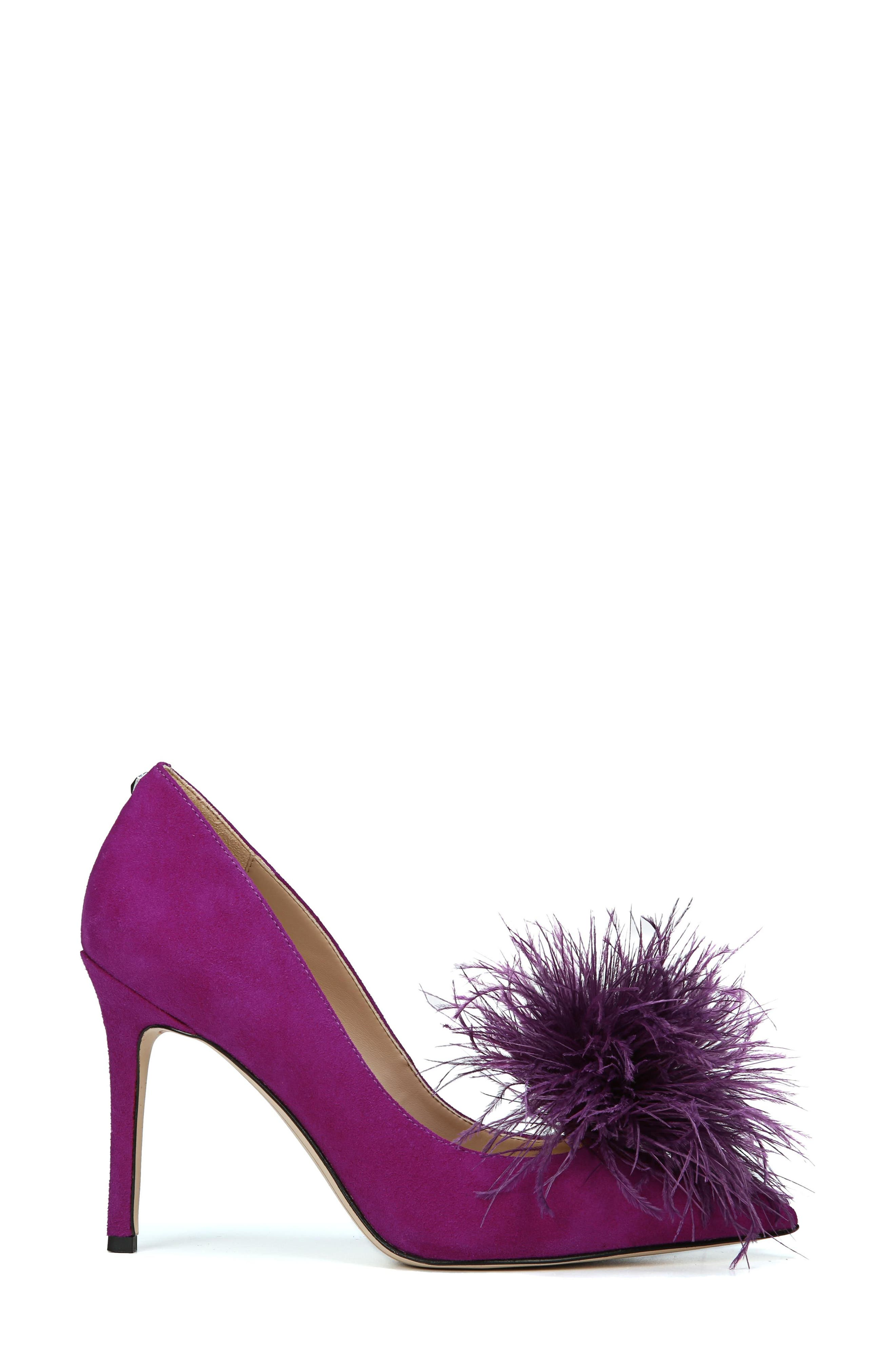 Haide Feather Pompom Pump,                             Alternate thumbnail 3, color,                             Laser Purple Leather