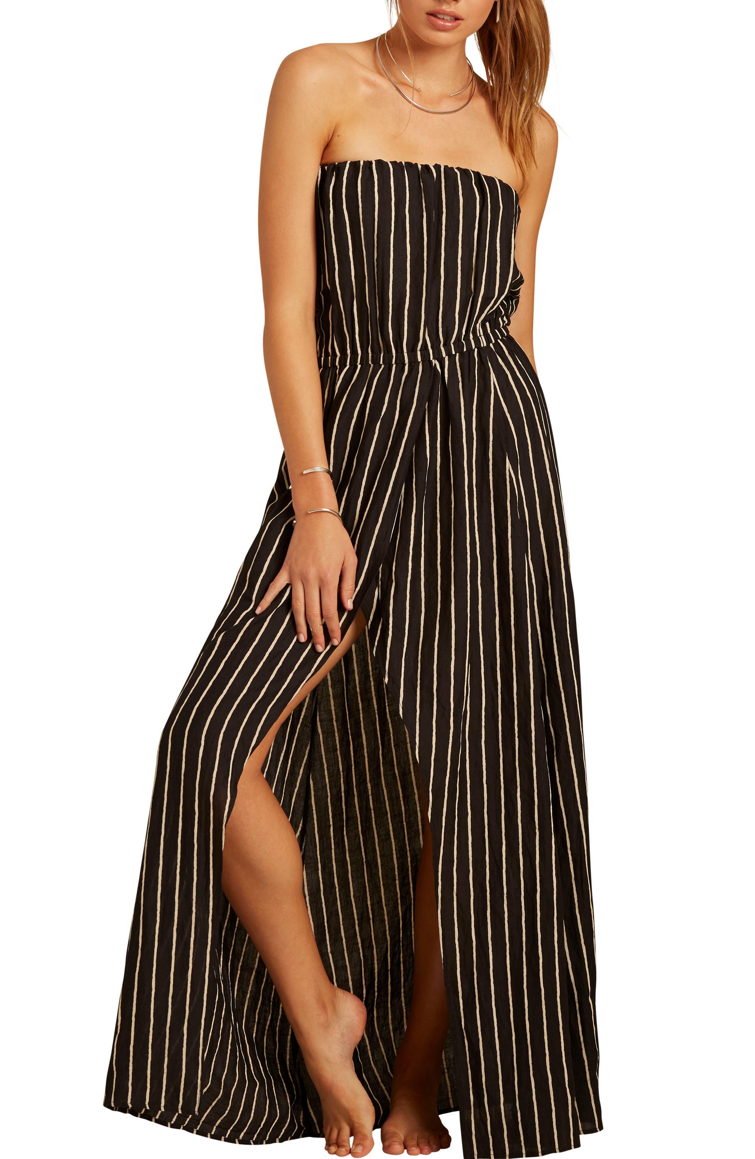 Strapless Faux Wrap Maxi Dress,                         Main,                         color, Black