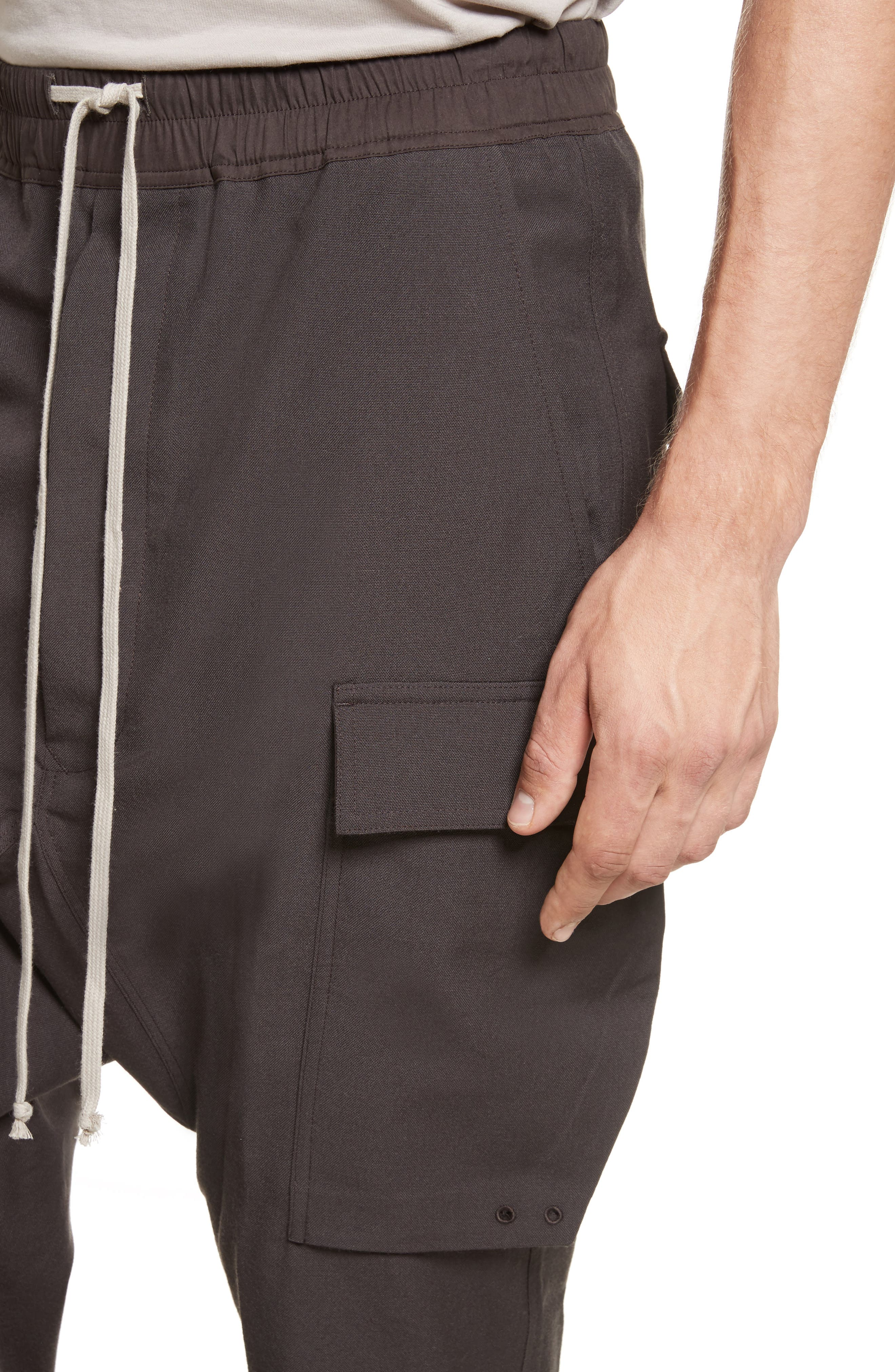 Cropped Drawstring Cargo Pants,                             Alternate thumbnail 4, color,                             Brown