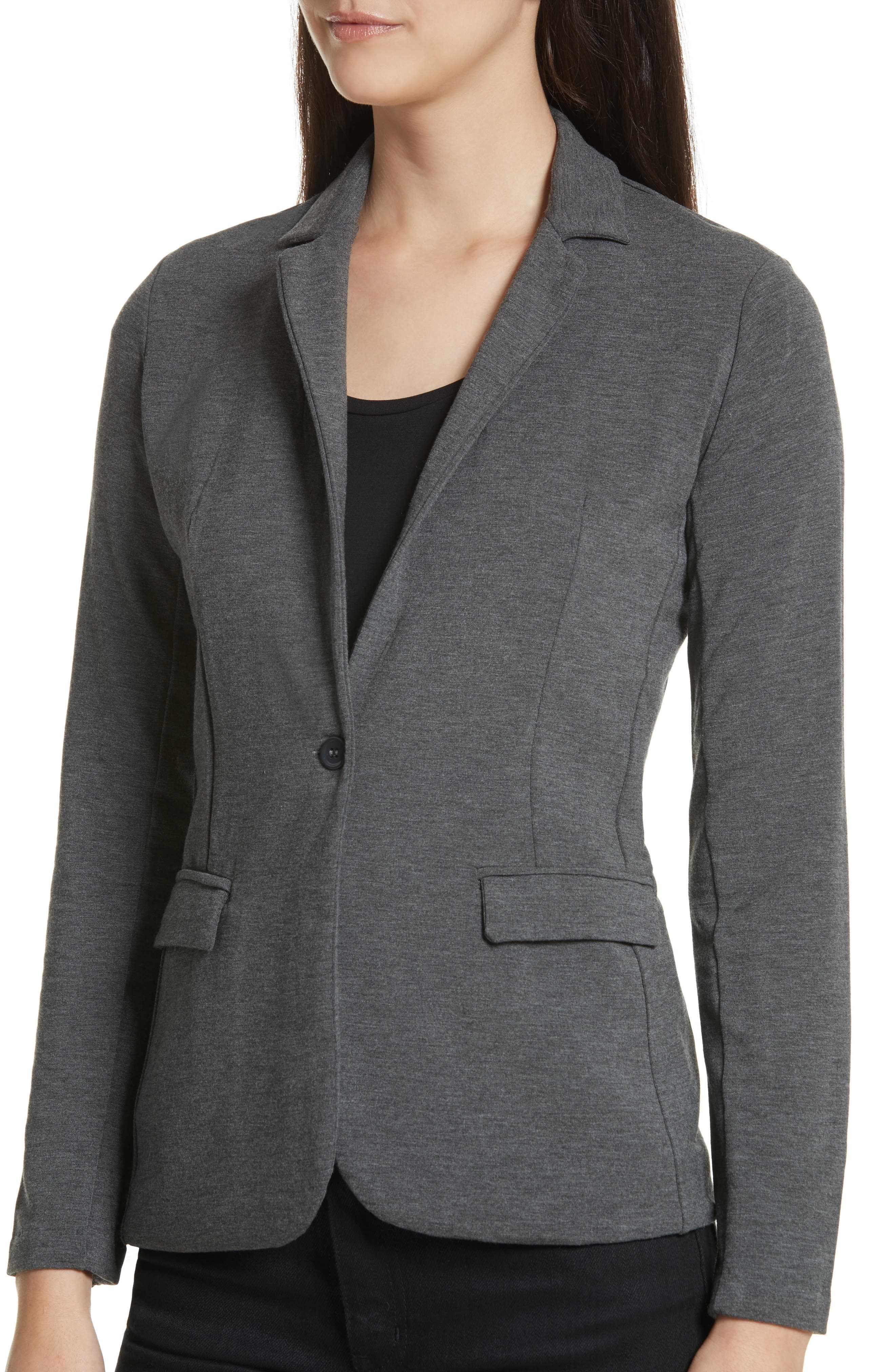 French Terry Blazer,                             Alternate thumbnail 4, color,                             Flanelle