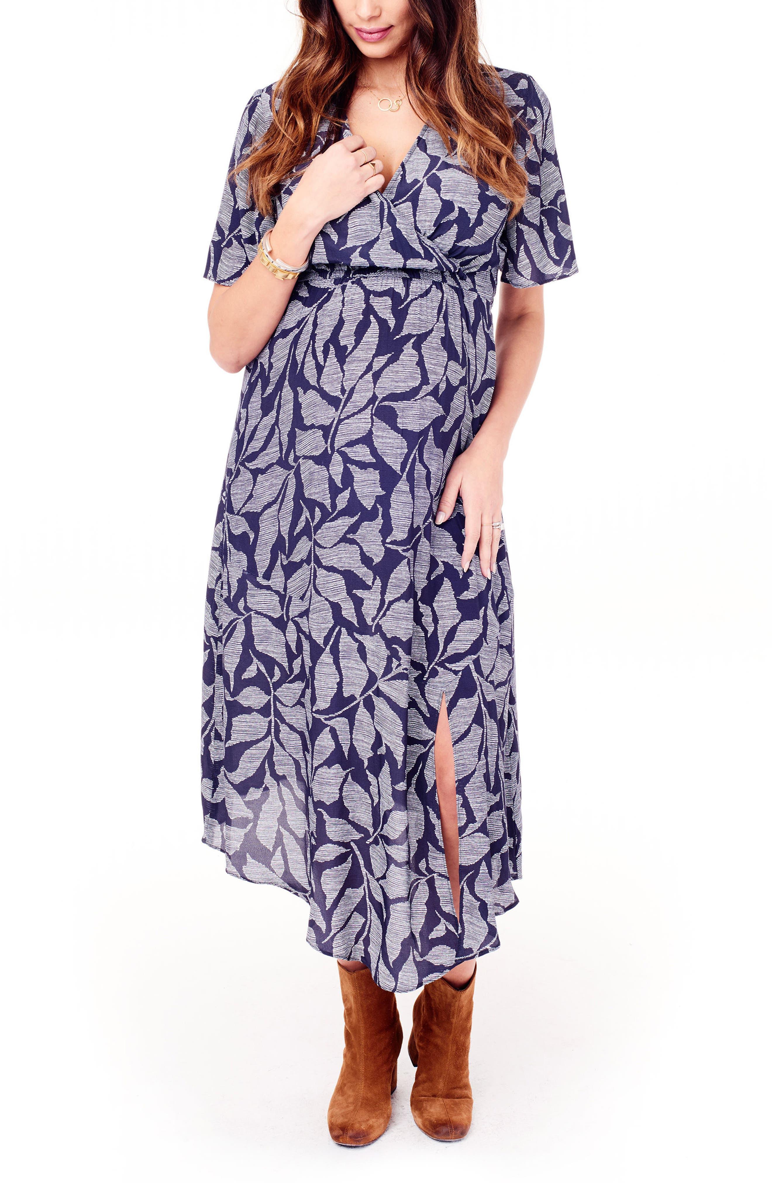 Flutter Sleeve Faux Wrap Maternity Dress,                             Alternate thumbnail 4, color,                             Navy Leaf Print