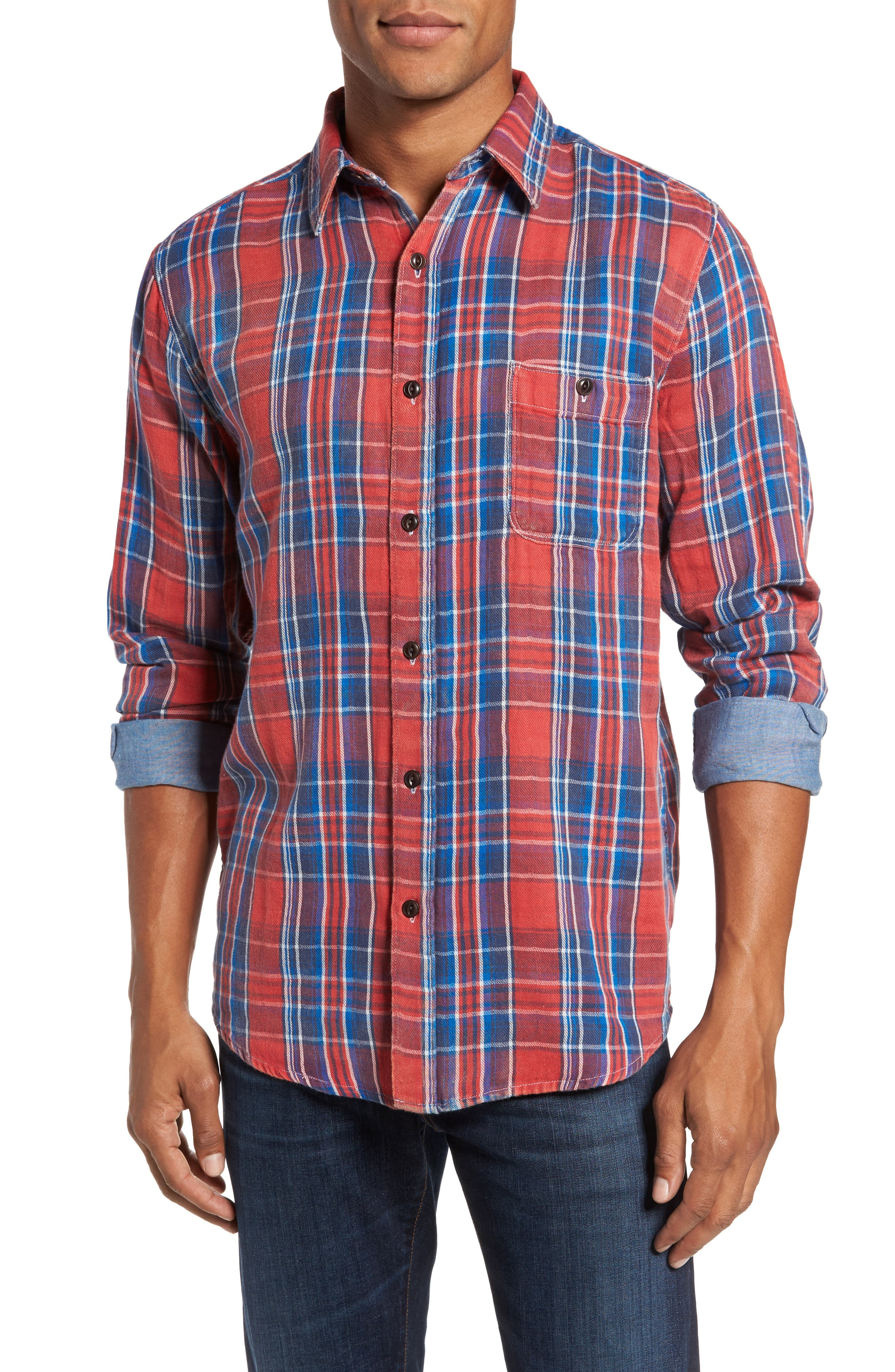 Plaid Sport Shirt,                         Main,                         color, Red Farmer Plaid