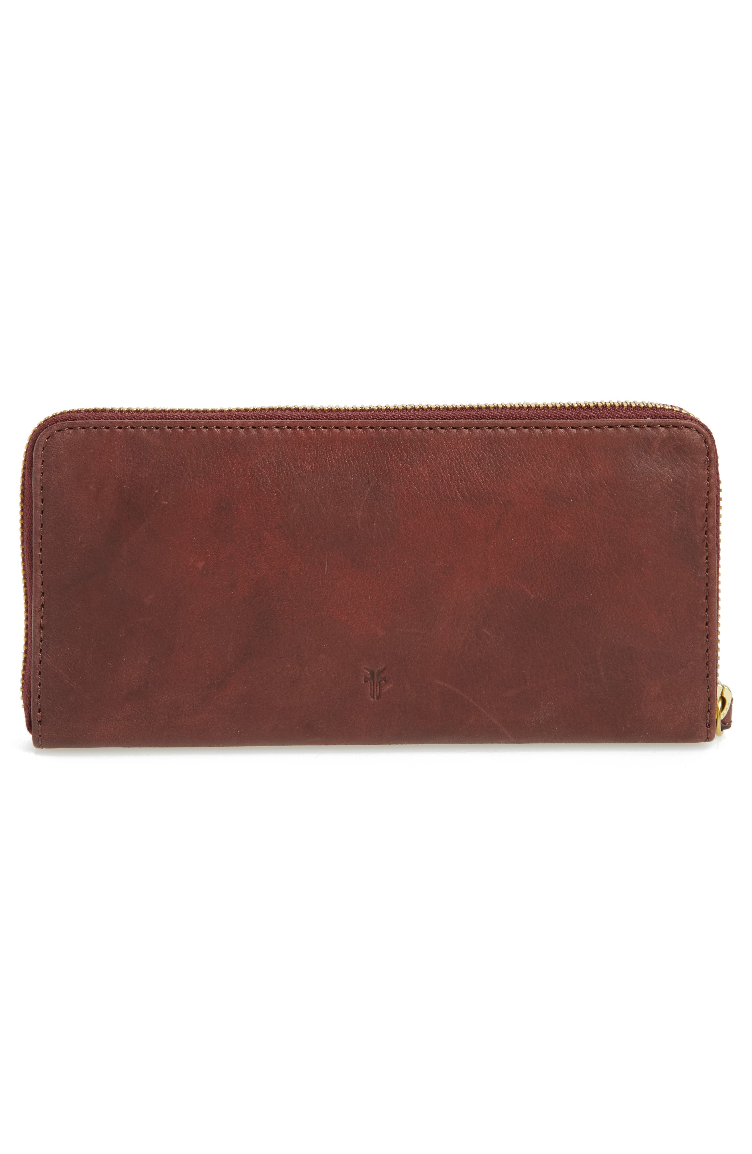 Campus Rivet Leather Continental Zip Wallet,                             Alternate thumbnail 3, color,                             Black Cherry