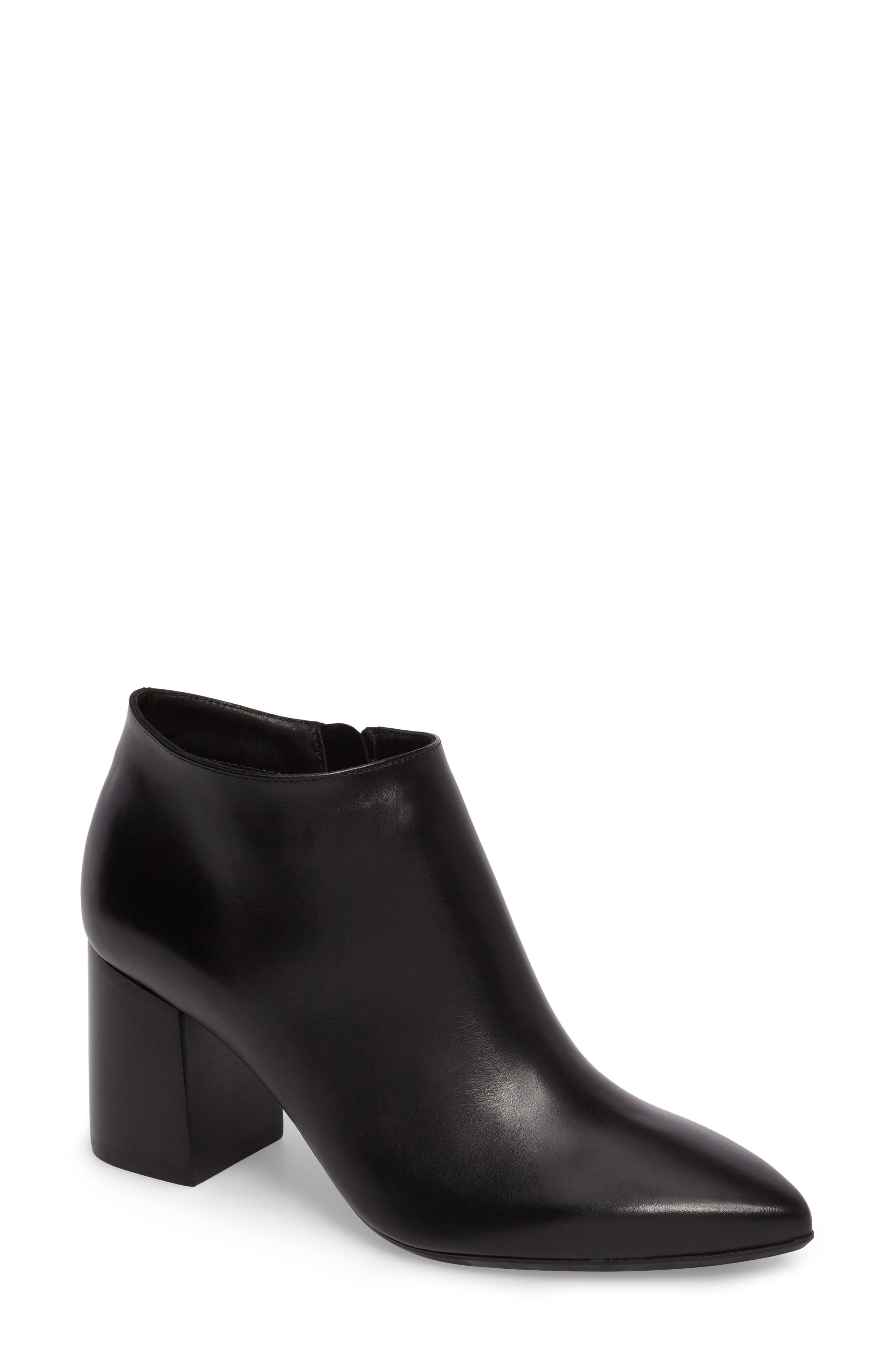 Maria Pointy Toe Bootie,                             Main thumbnail 1, color,                             Black Leather