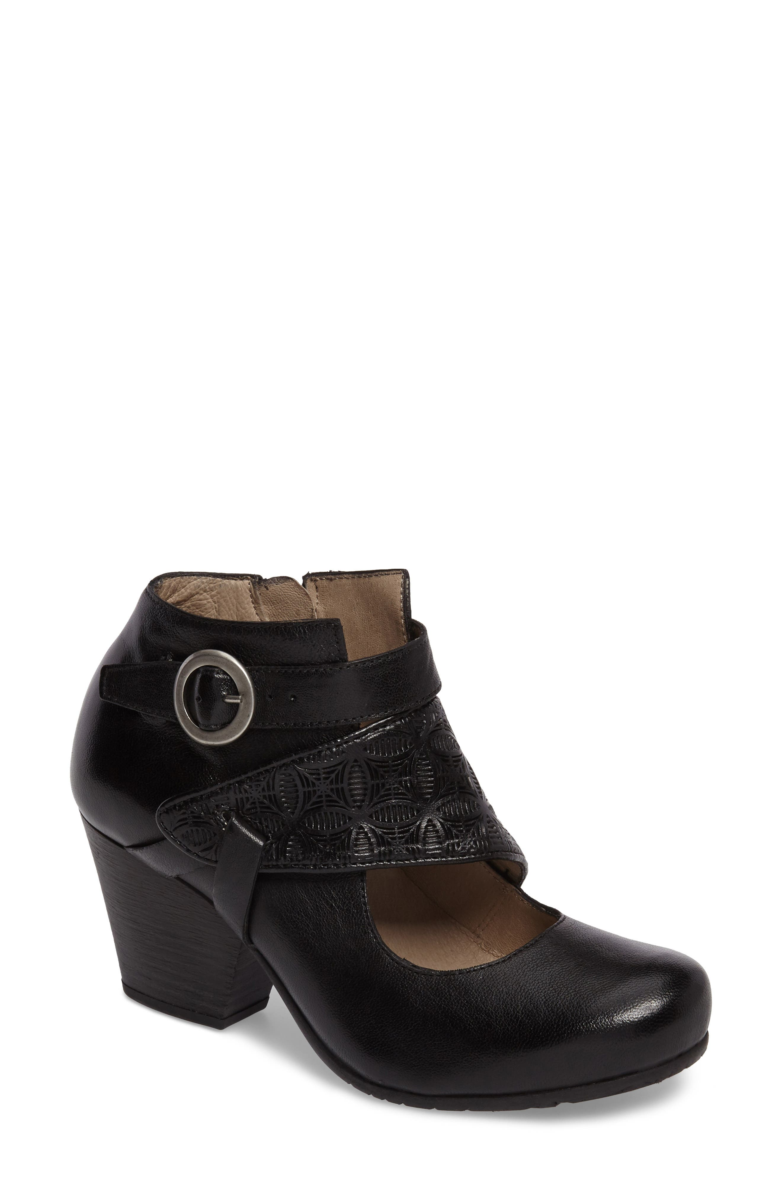 Dale Embossed Mary Jane Bootie,                             Main thumbnail 1, color,                             Black
