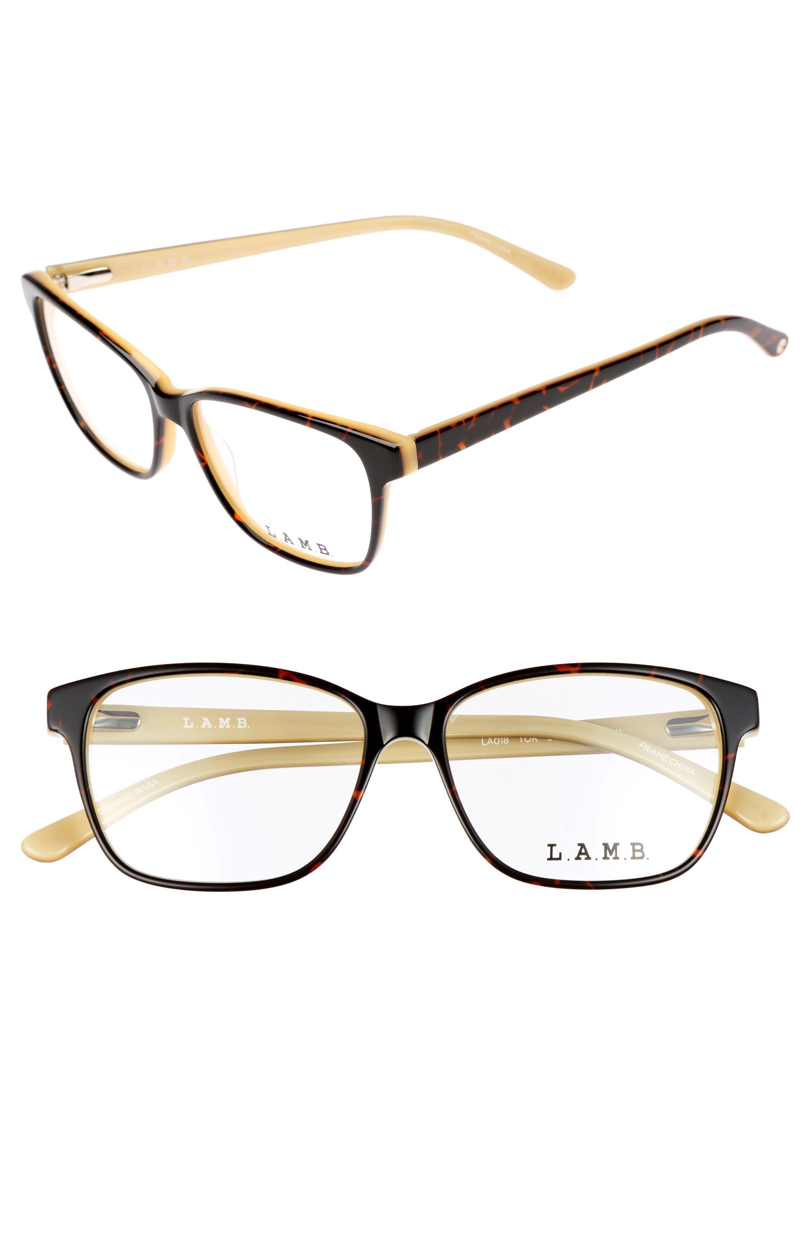 54mm Square Optical Glasses,                             Main thumbnail 1, color,                             Yellow