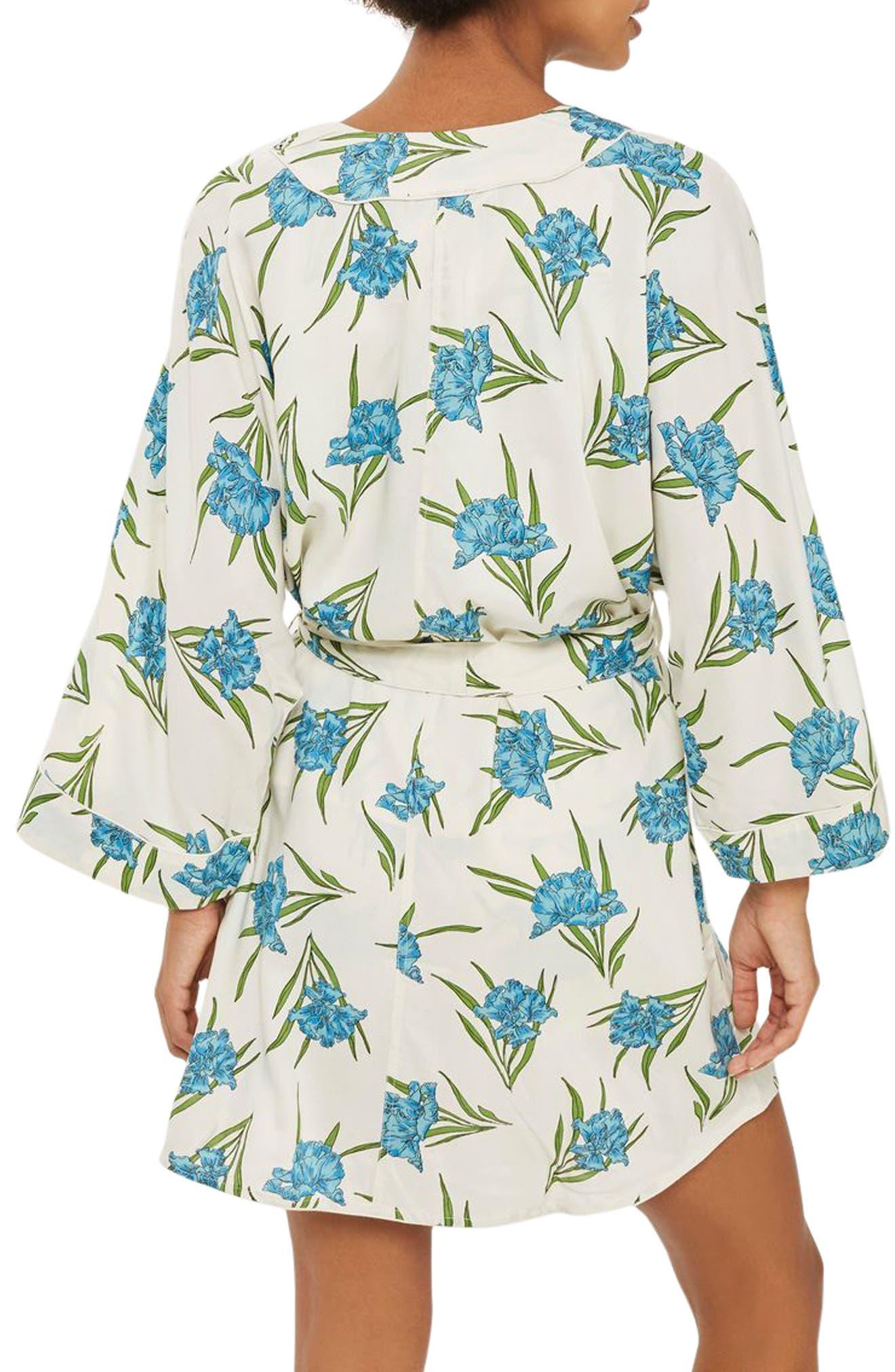 Botanical Print Short Robe,                             Alternate thumbnail 2, color,                             Ivory Multi