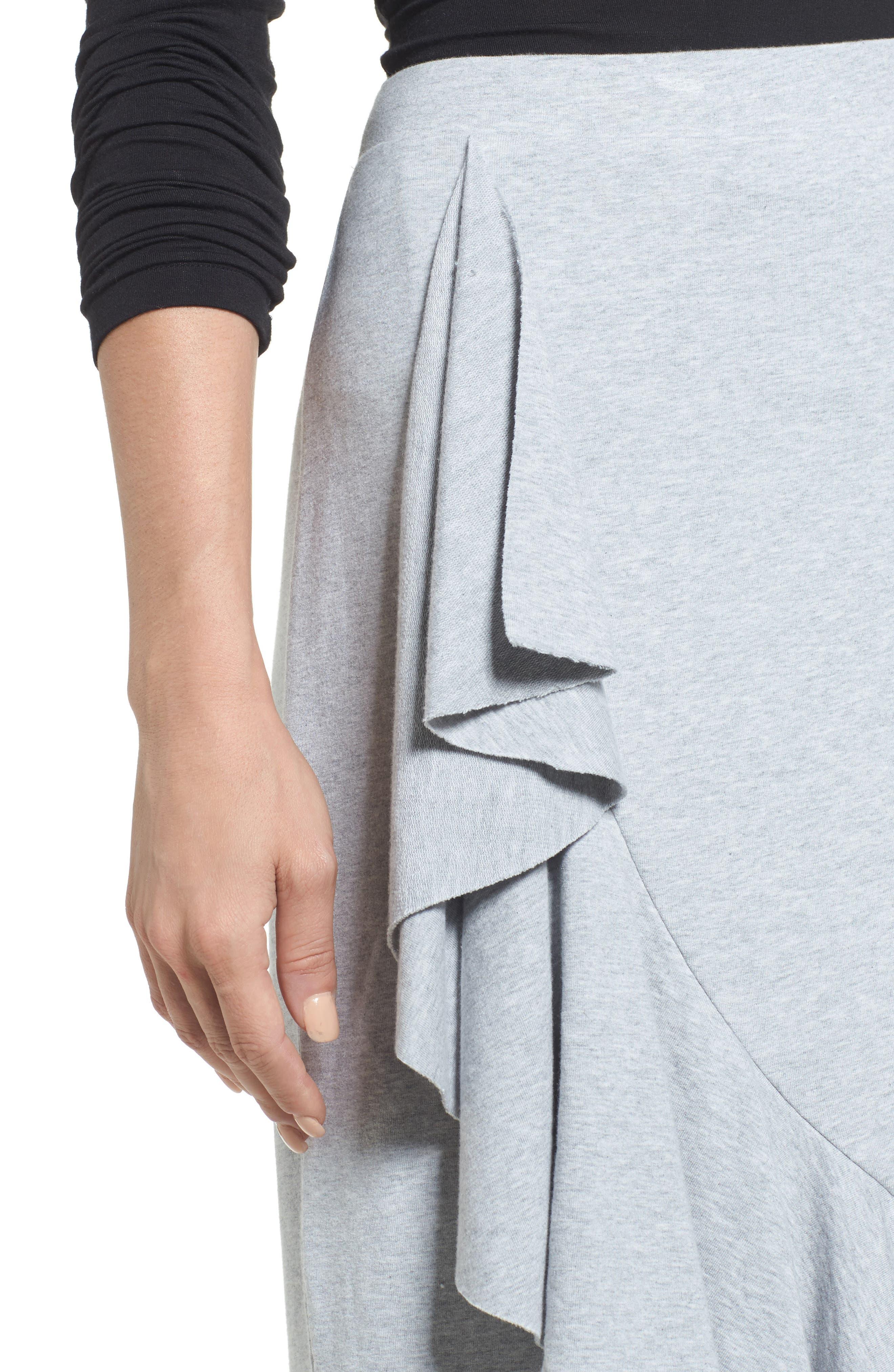 Ruffled Knit Skirt,                             Alternate thumbnail 4, color,                             Heather Grey