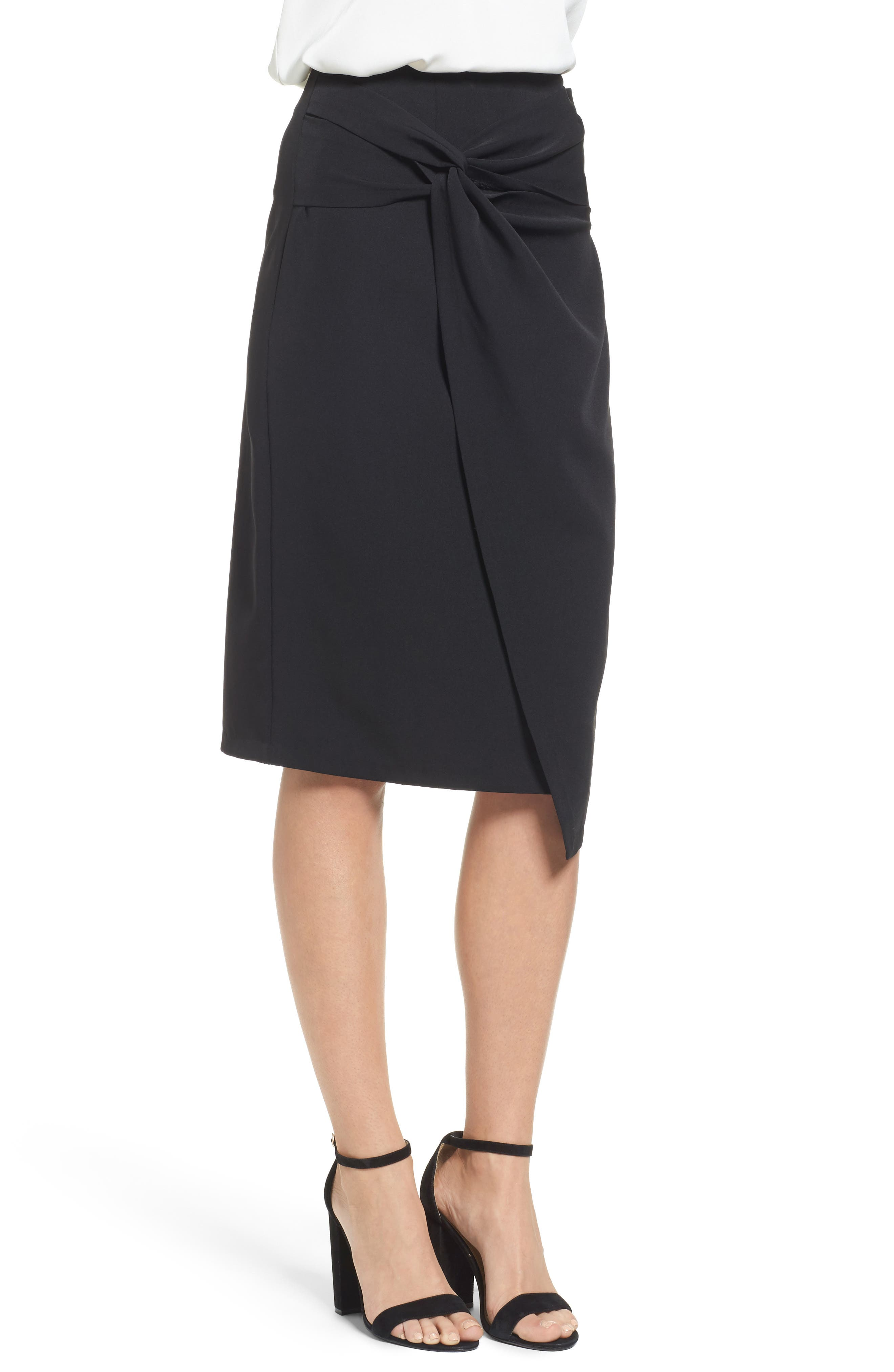 Twist Front Pencil Skirt,                             Alternate thumbnail 3, color,                             Black