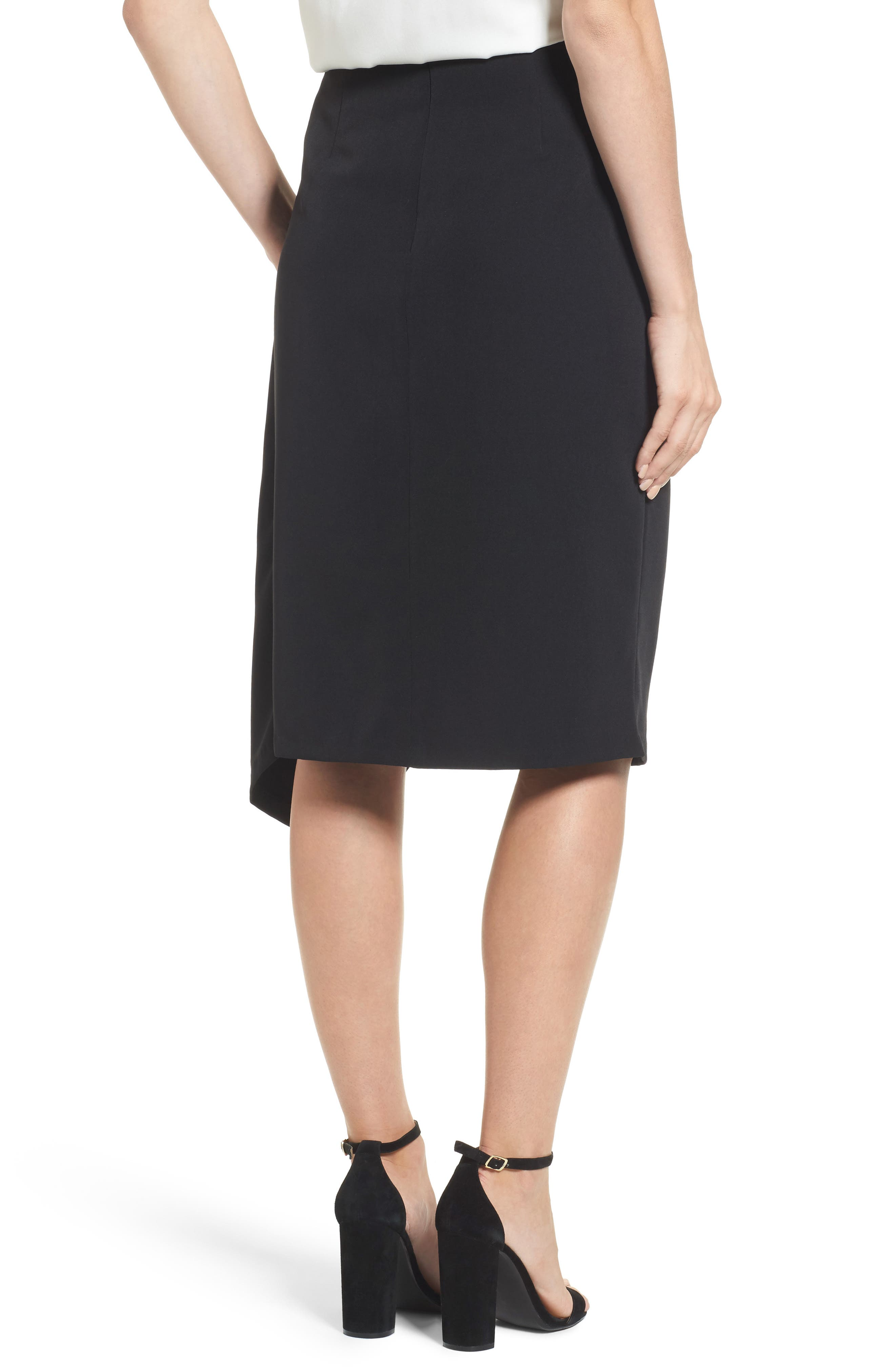 Twist Front Pencil Skirt,                             Alternate thumbnail 2, color,                             Black