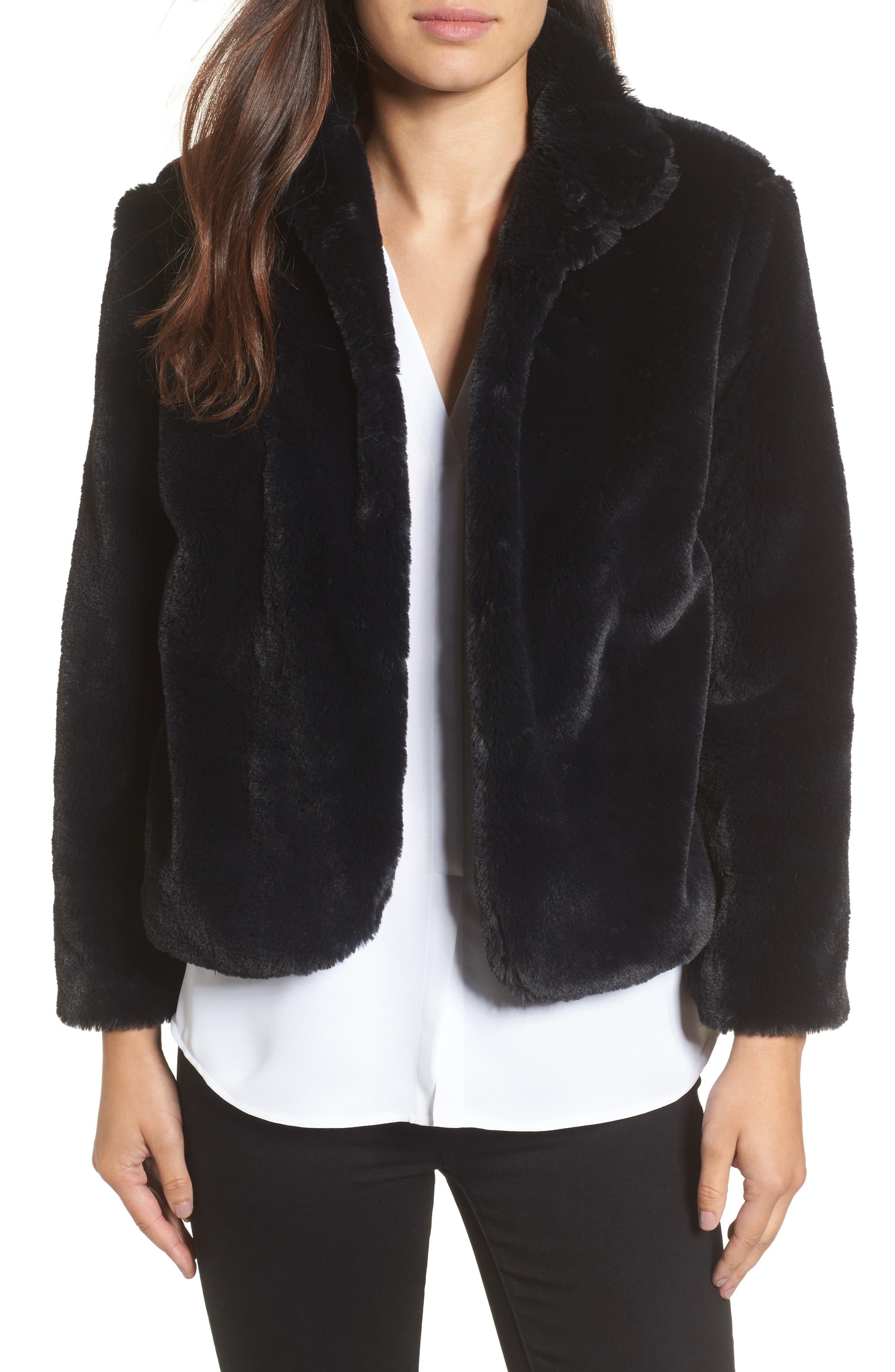 Halogen® Faux Fur Jacket (Regular & Petite)