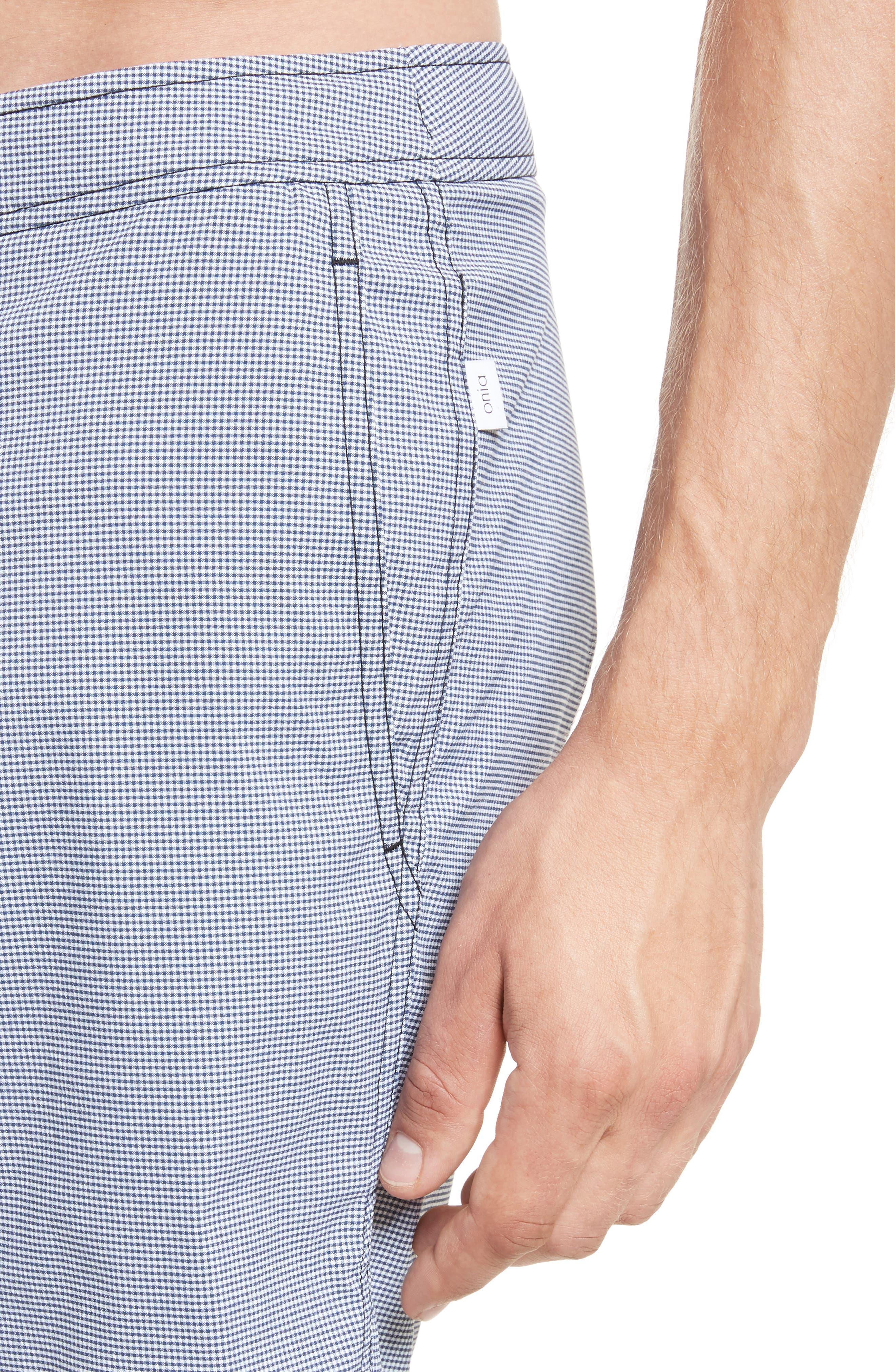 Calder Gingham Board Shorts,                             Alternate thumbnail 4, color,                             Deep Navy/White