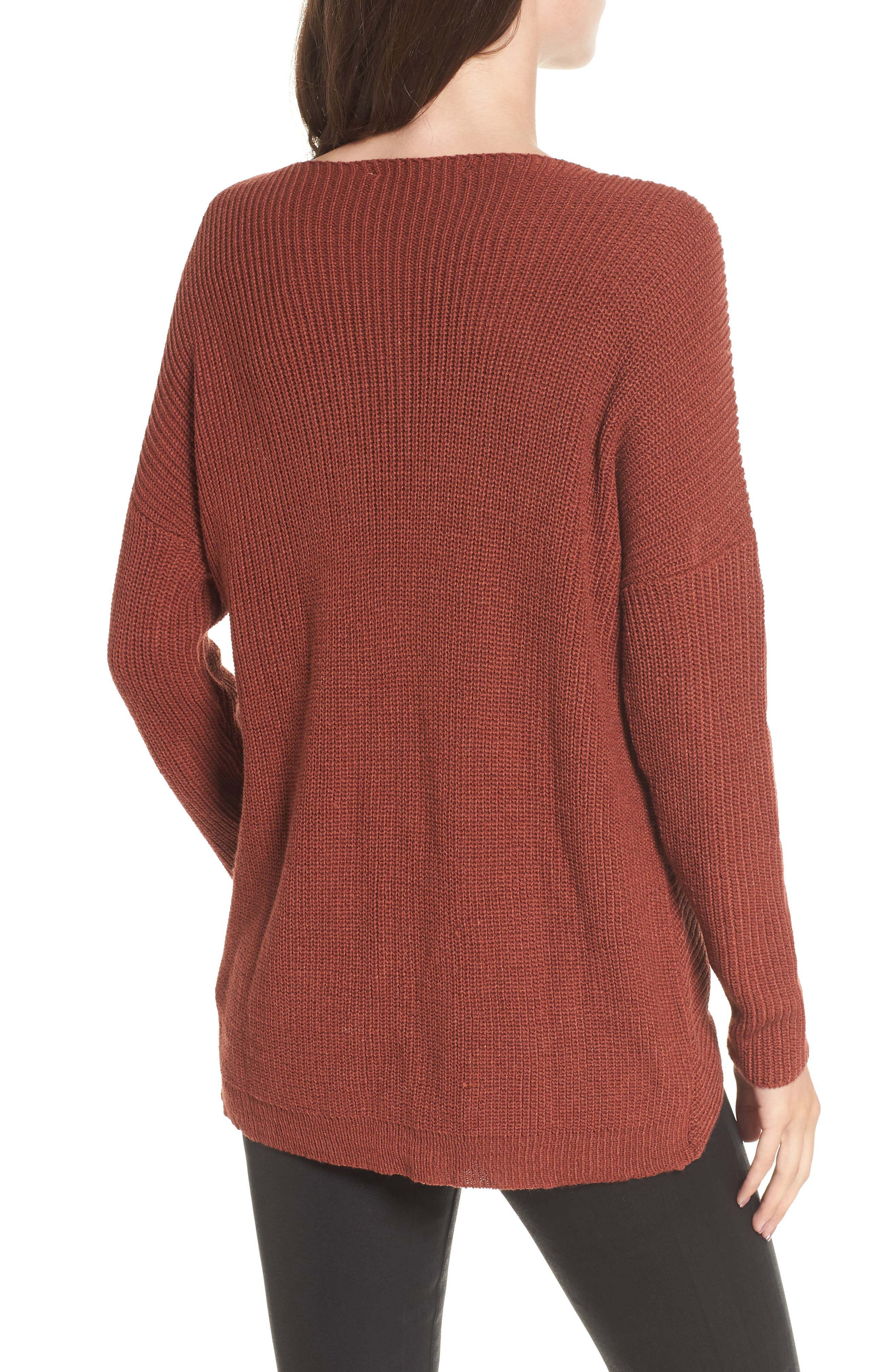 Wrap Front Sweater,                             Alternate thumbnail 2, color,                             Brown Spice