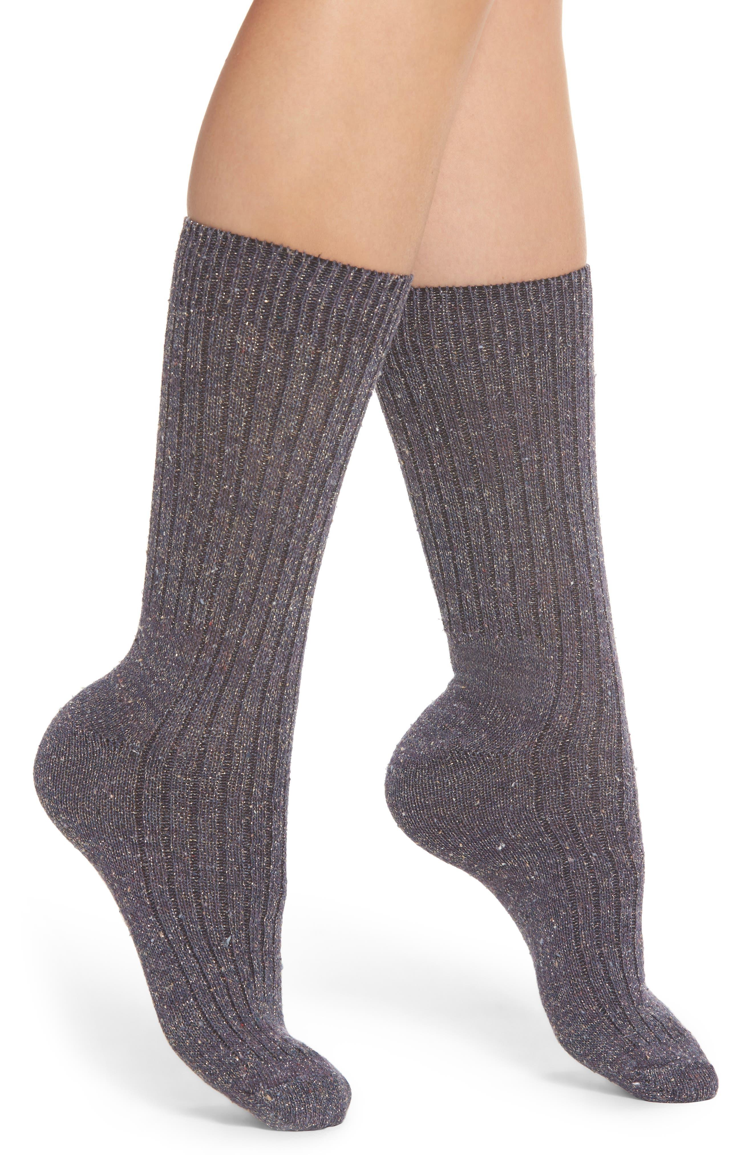 Metallic Tweed Space Dye Rib Crew Socks,                         Main,                         color, Acai