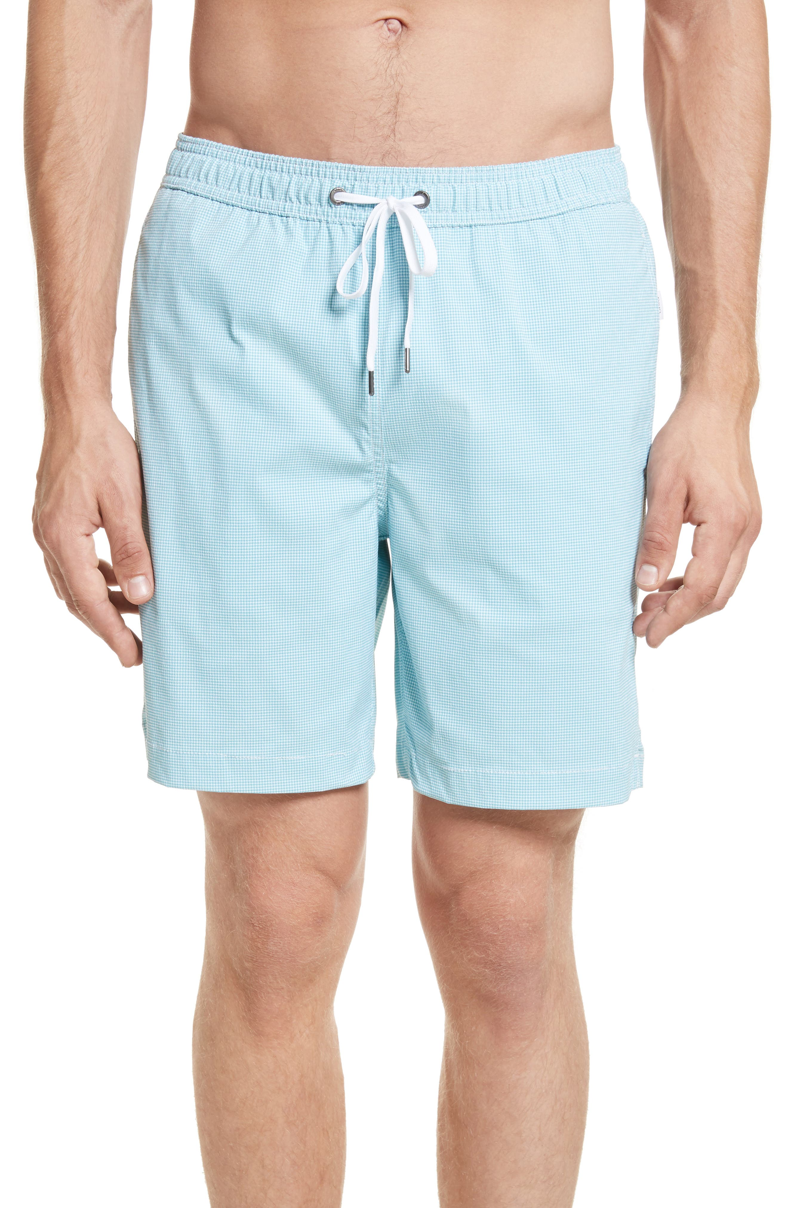 Charles Yarn Dyed Swim Trunks,                         Main,                         color, Agave/White