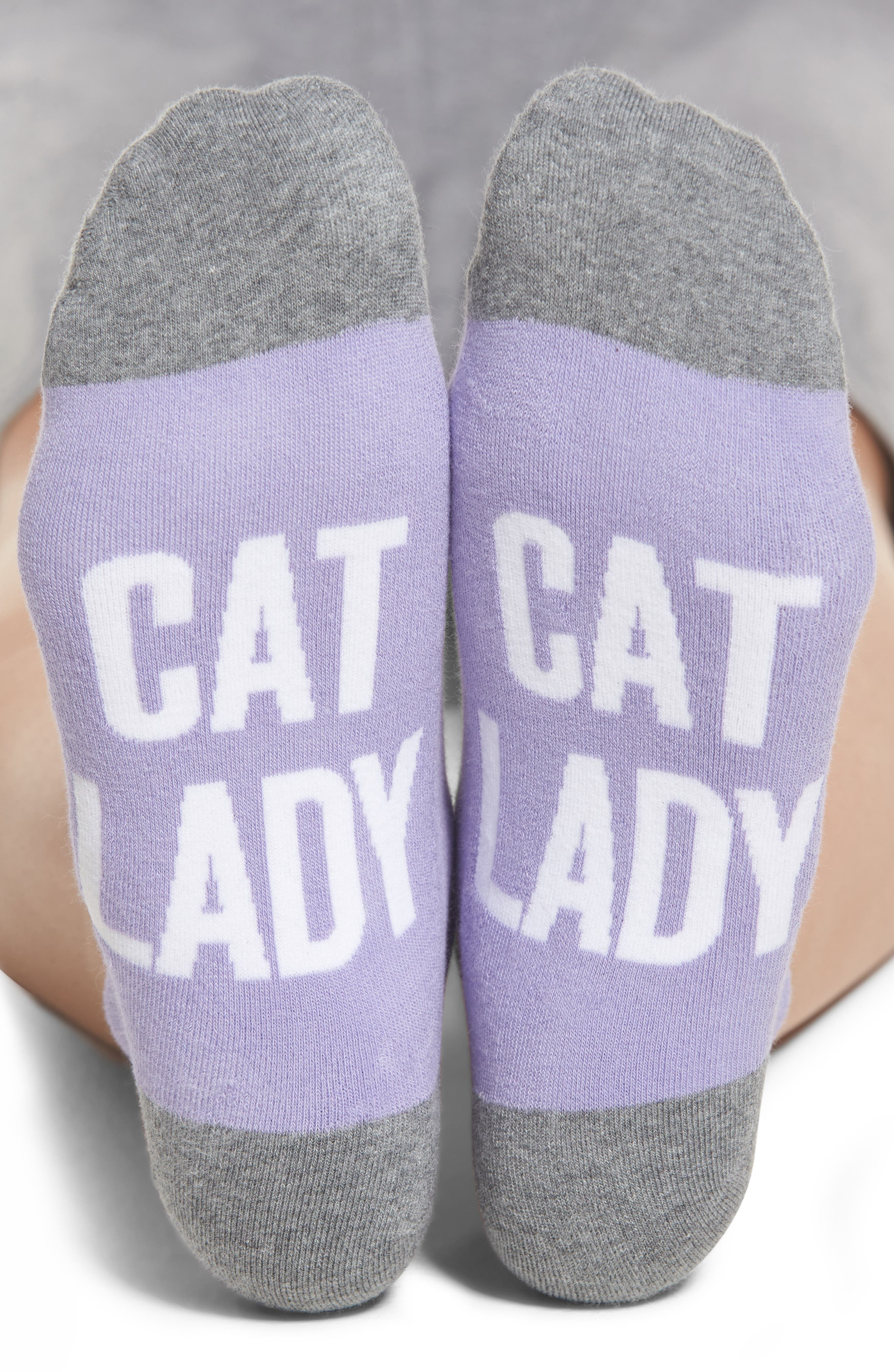 Cat Lady Ankle Socks,                         Main,                         color, Periwinkle