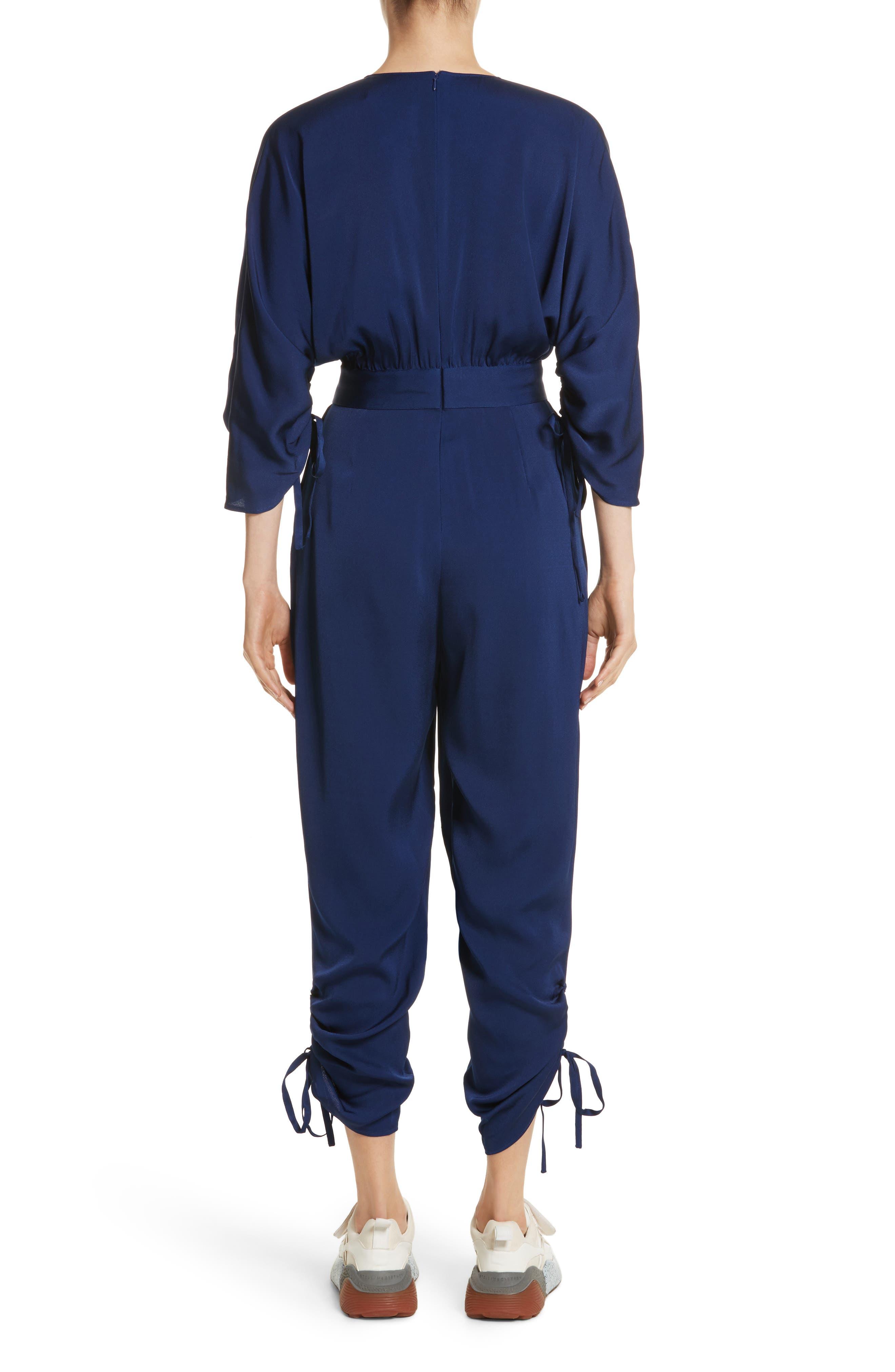 Drawstring Cady Jumpsuit,                             Alternate thumbnail 2, color,                             Sapphire Blue