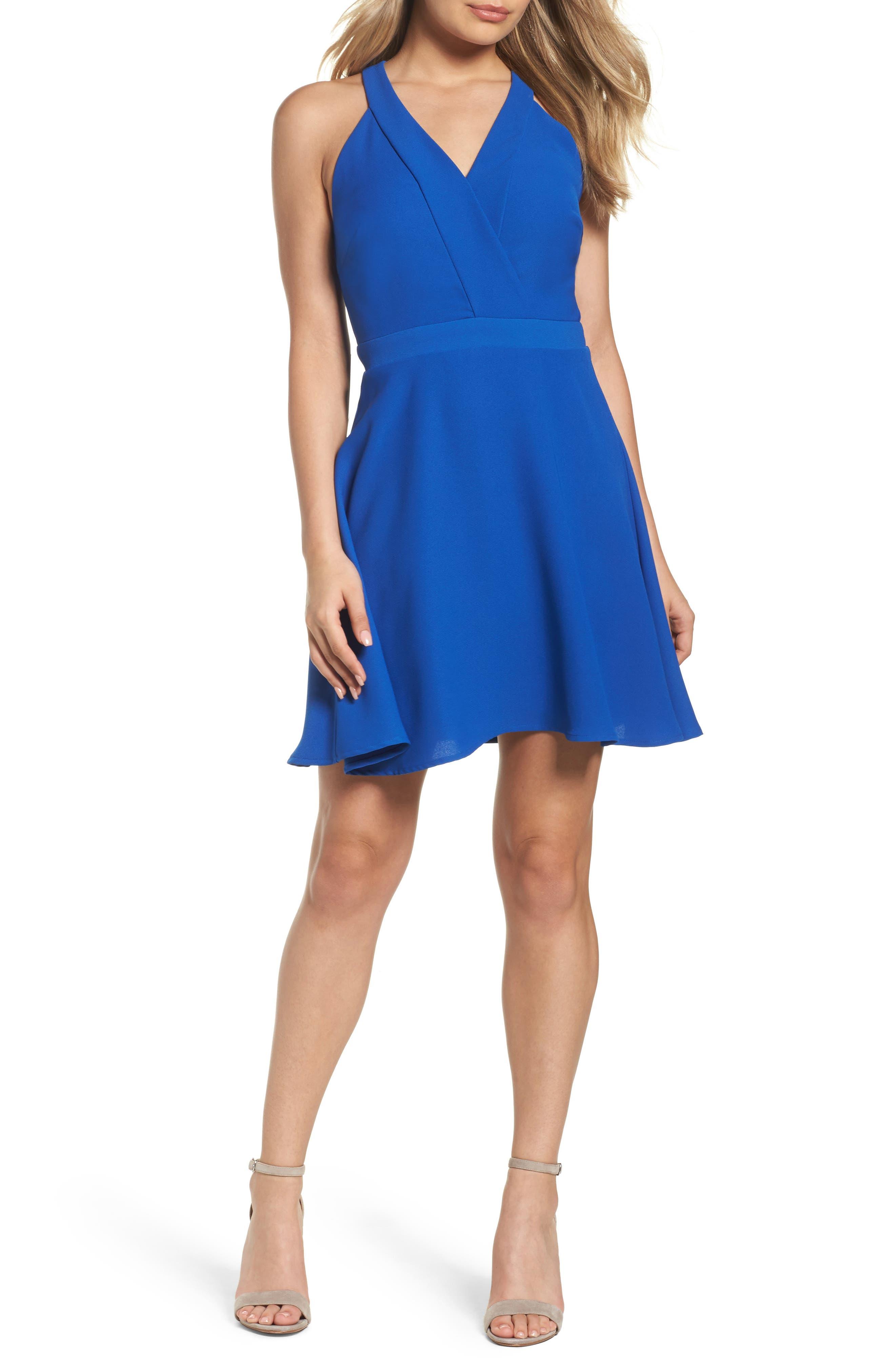 Crepe Skater Dress,                         Main,                         color, Cobalt