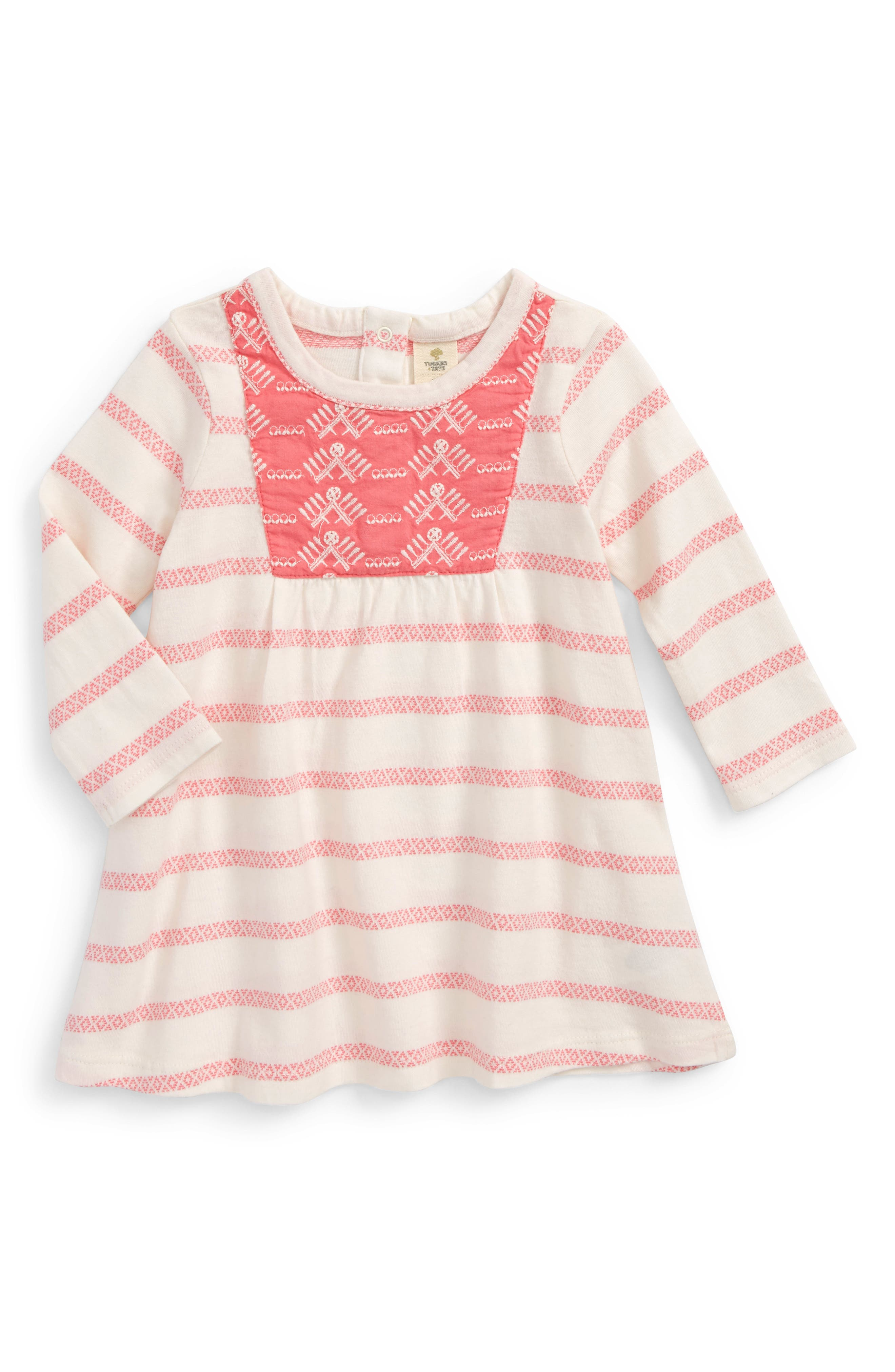 Embroidered Dress,                         Main,                         color, Pink Lemonade- Ivory Stripe