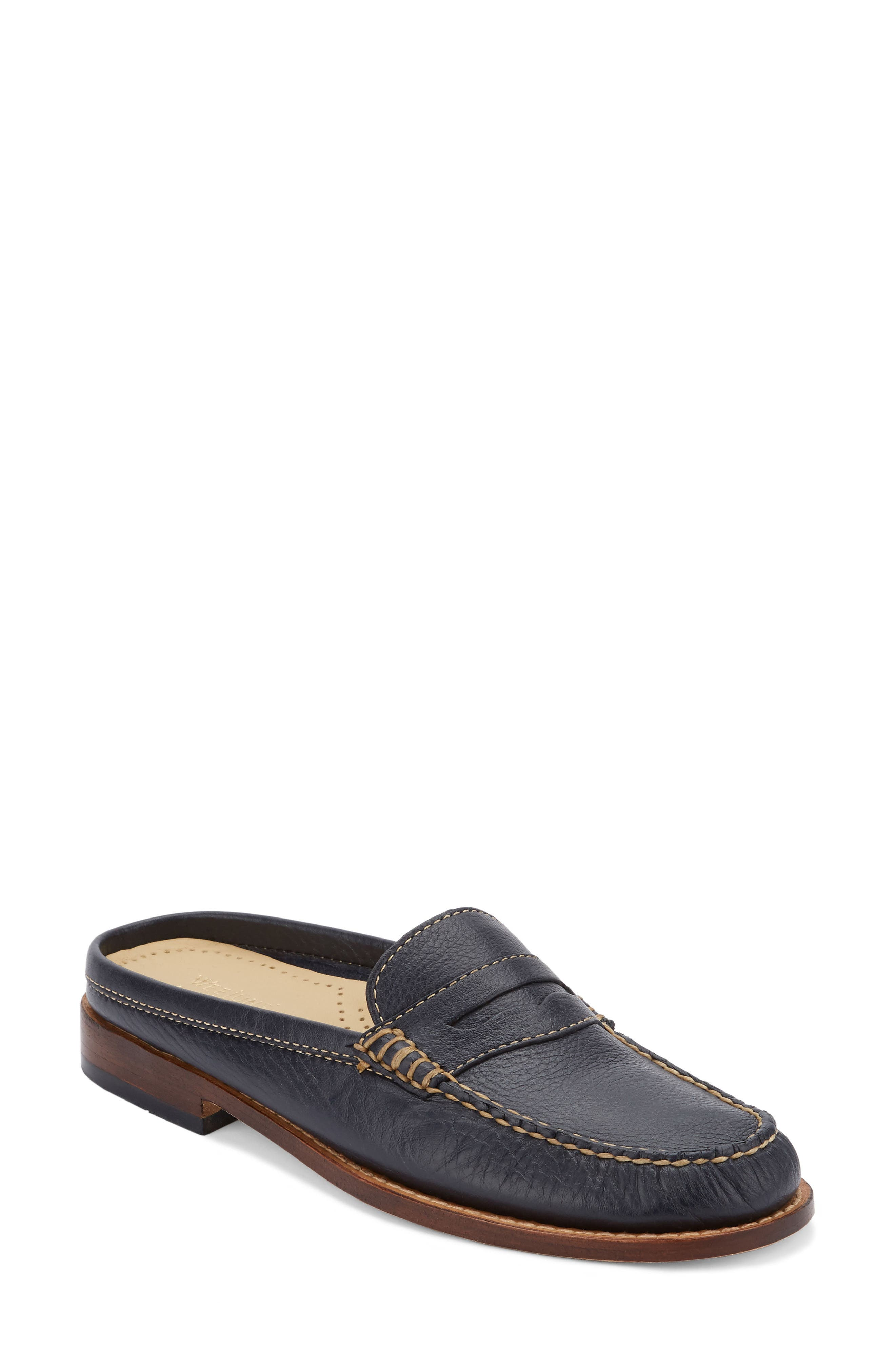 Wynn Loafer Mule,                         Main,                         color, Navy Leather