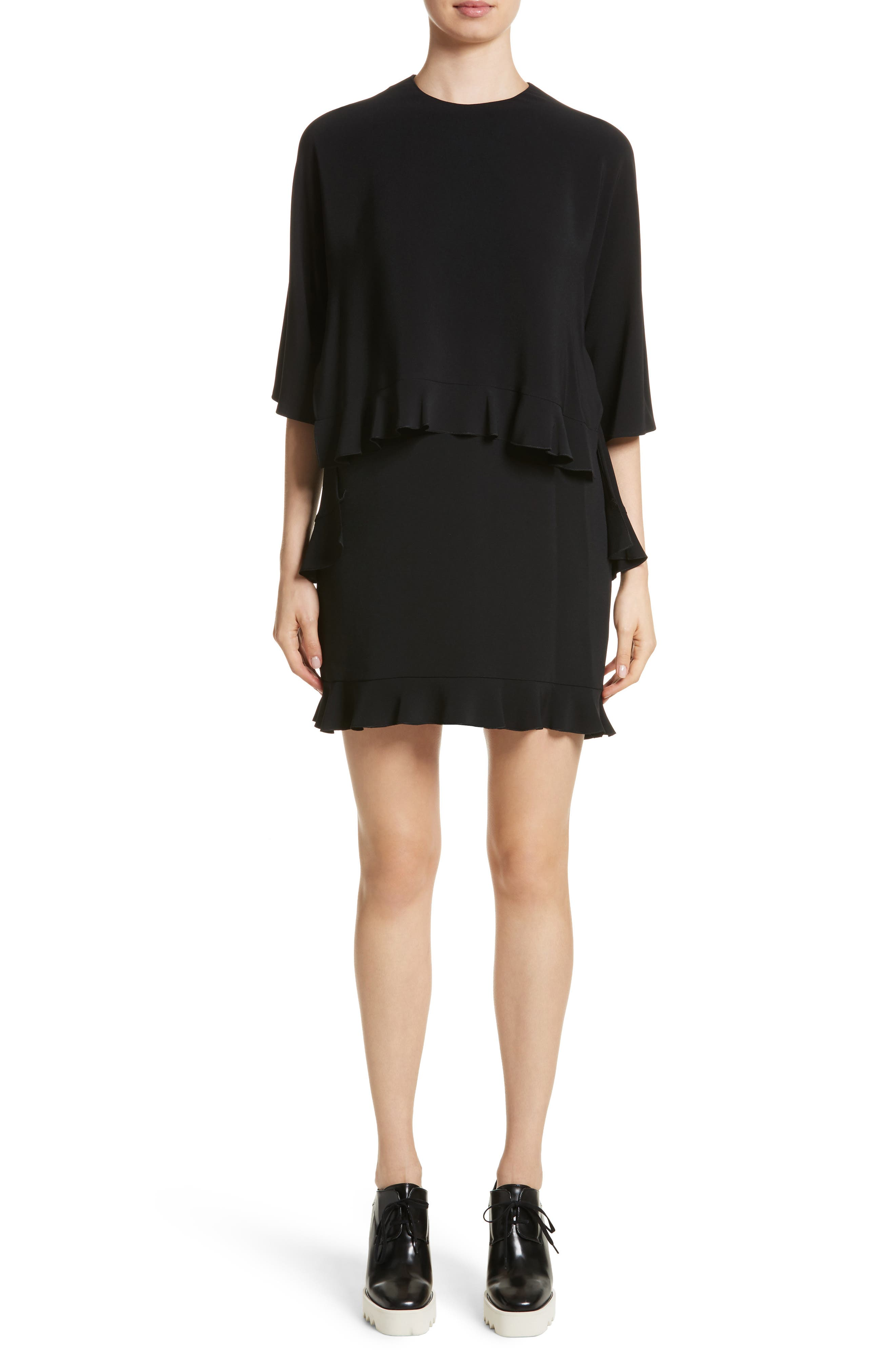 Ruffle Overlay Stretch Cady Dress,                             Main thumbnail 1, color,                             Black