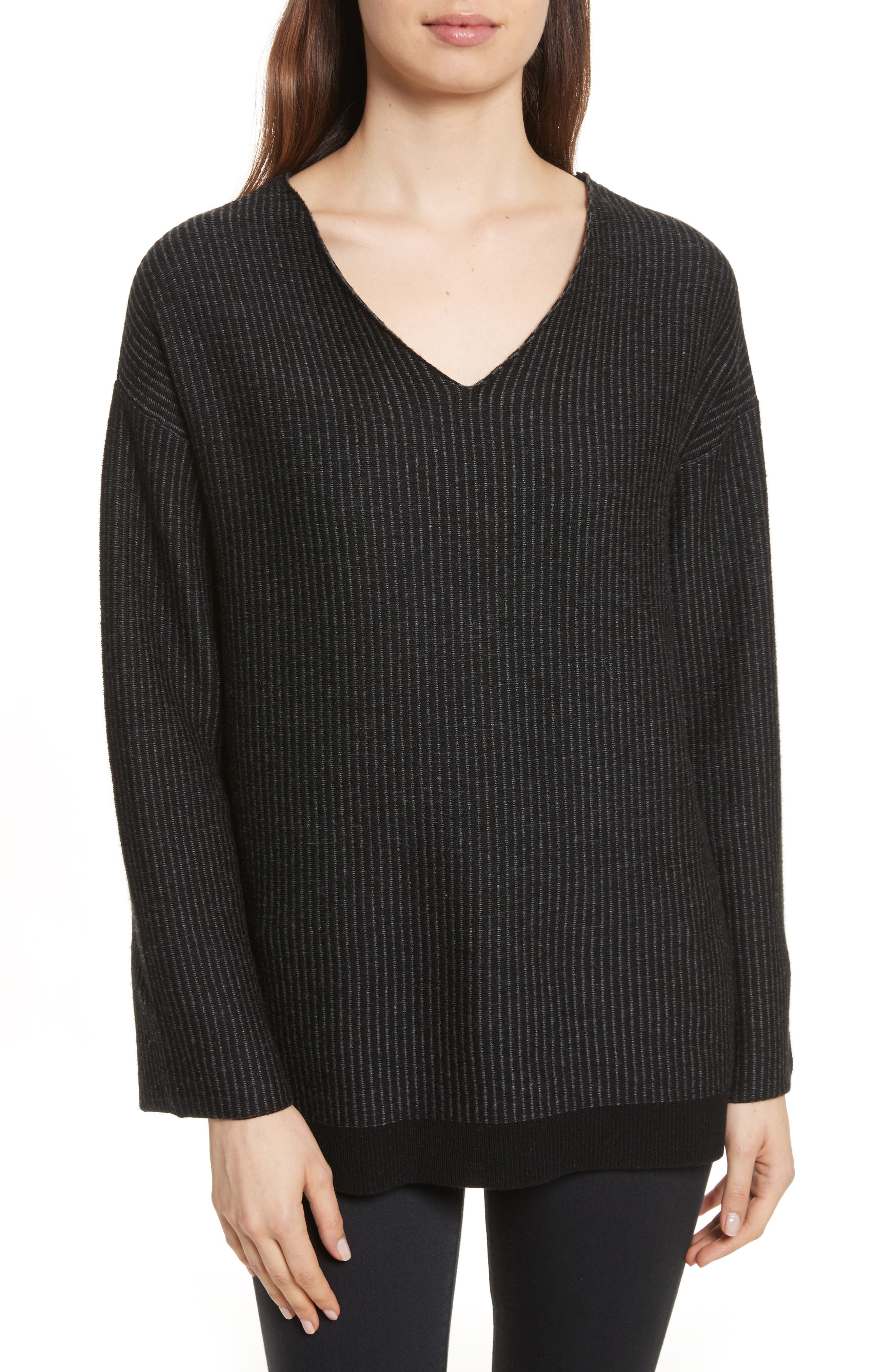 Cotton Blend Sweater,                         Main,                         color, Foggy/ Chalk
