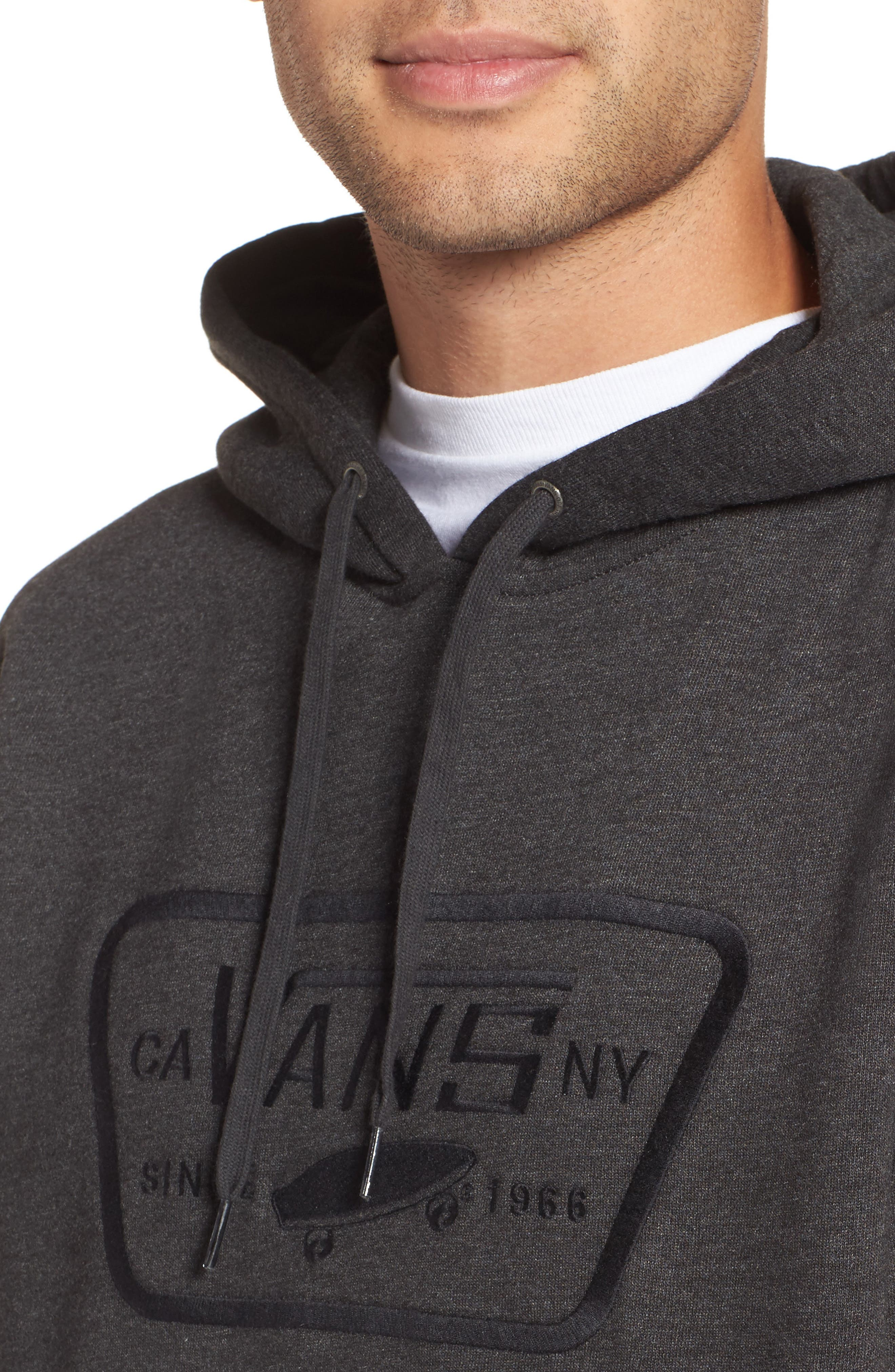 Full Patch Stitch Hoodie,                             Alternate thumbnail 4, color,                             Black Heather