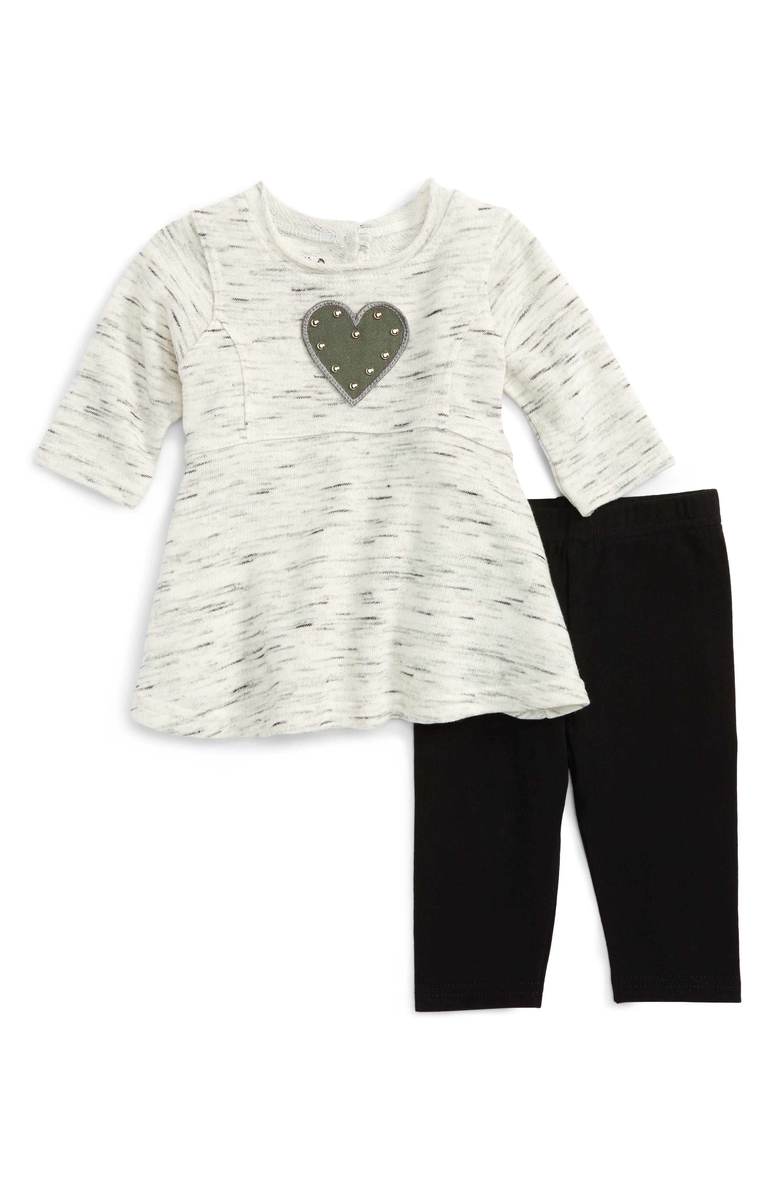 Heart Dress & Leggings Set,                         Main,                         color, Grey
