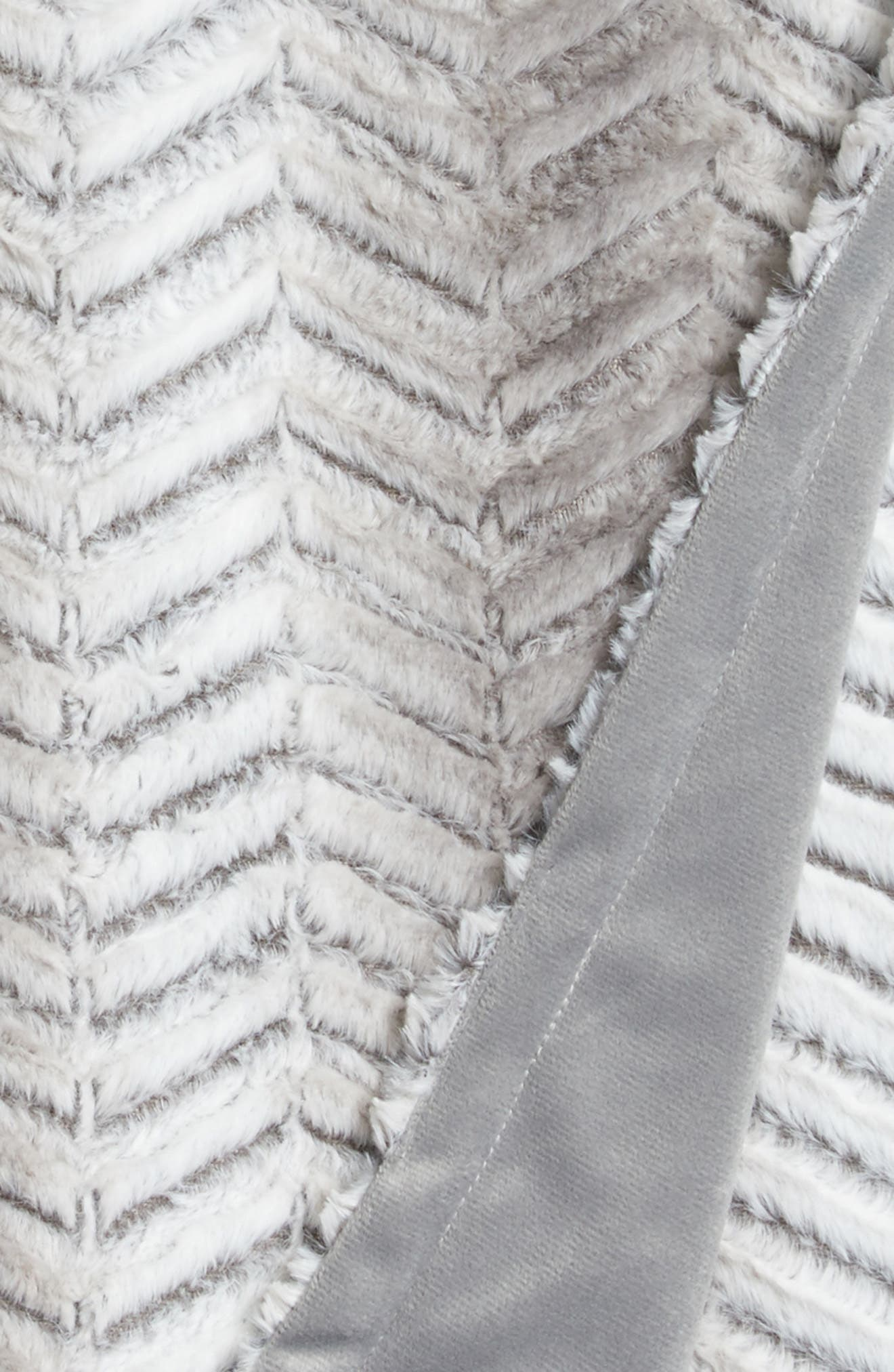 Nordstrom Chevron Plush Faux Fur Throw,                             Alternate thumbnail 2, color,                             Grey Frost Multi
