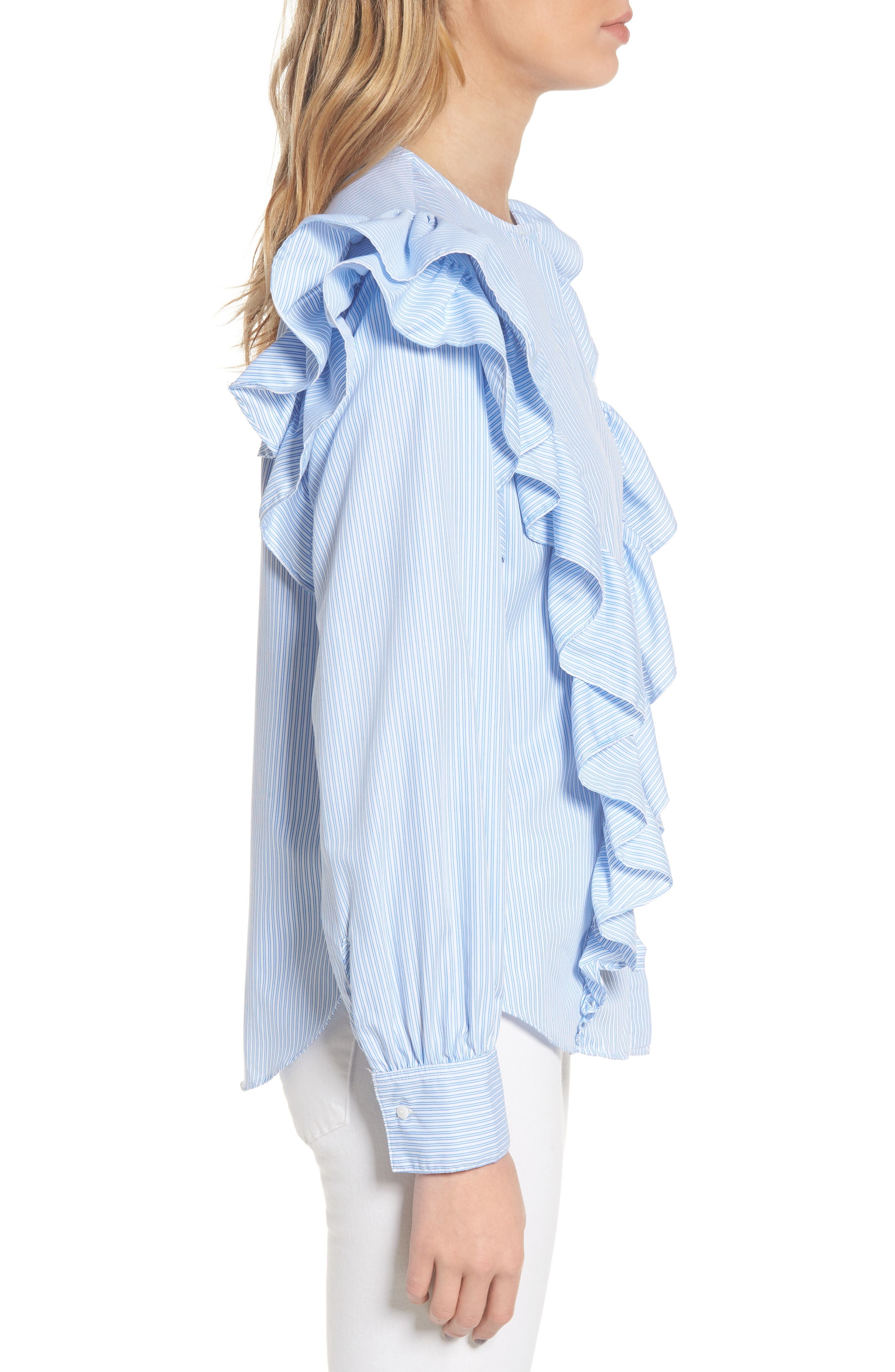Girl Meets Boy Ruffle Top,                             Alternate thumbnail 4, color,                             Striped Blue