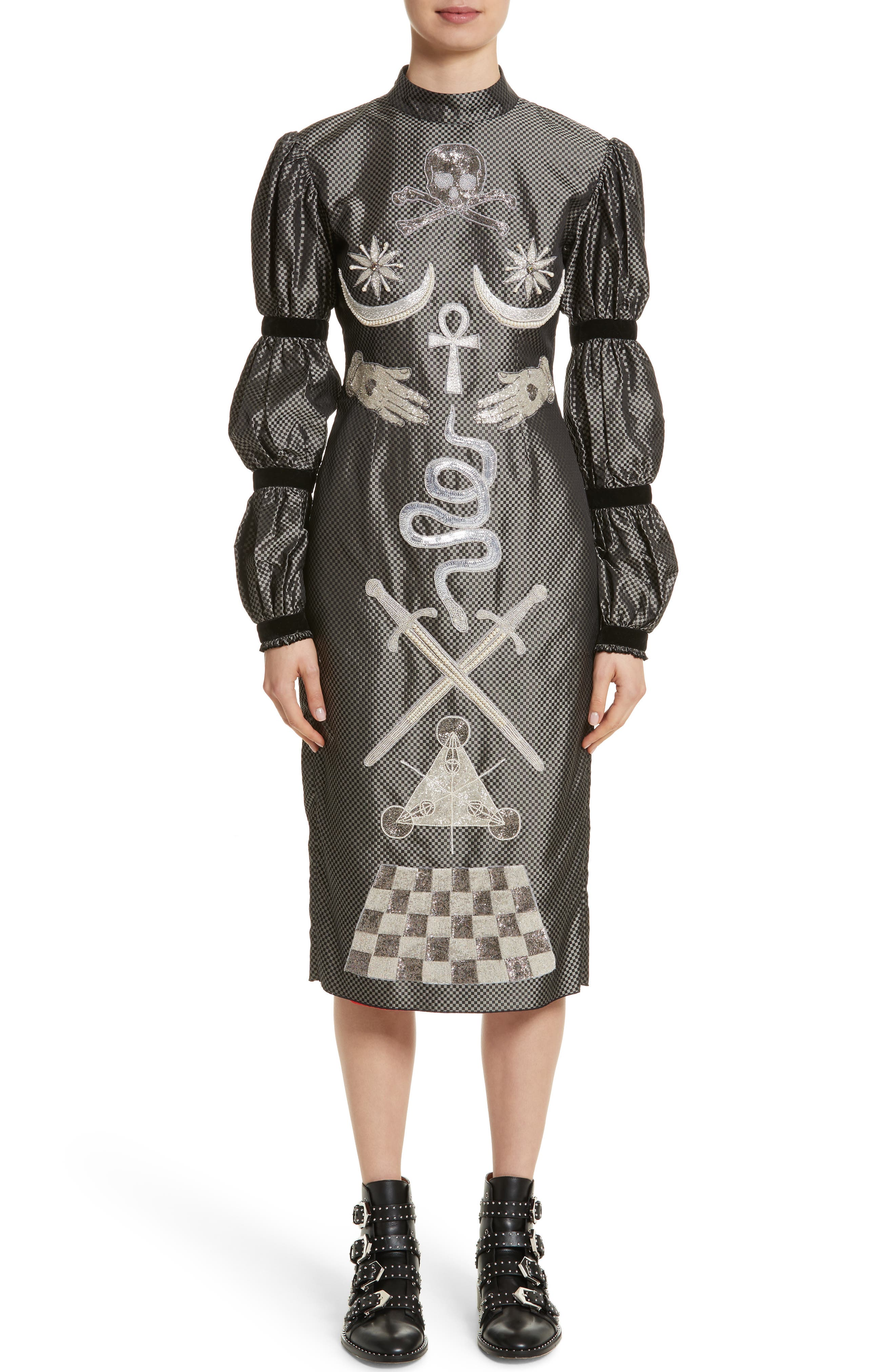 Alien Goddess Embellished Silk Dress,                         Main,                         color, Silver