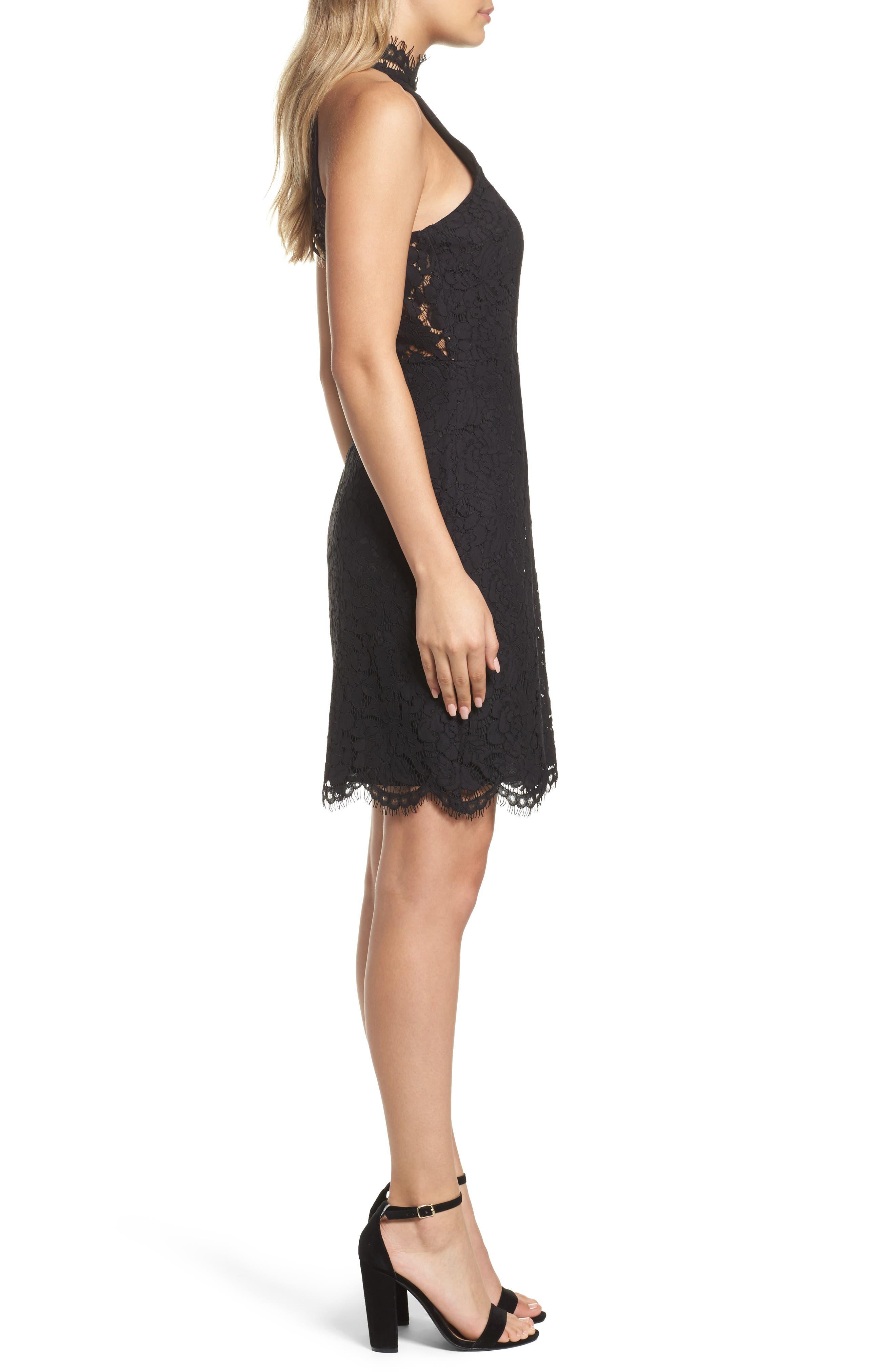 'Cara' High Neck Lace Dress,                             Alternate thumbnail 3, color,                             Black