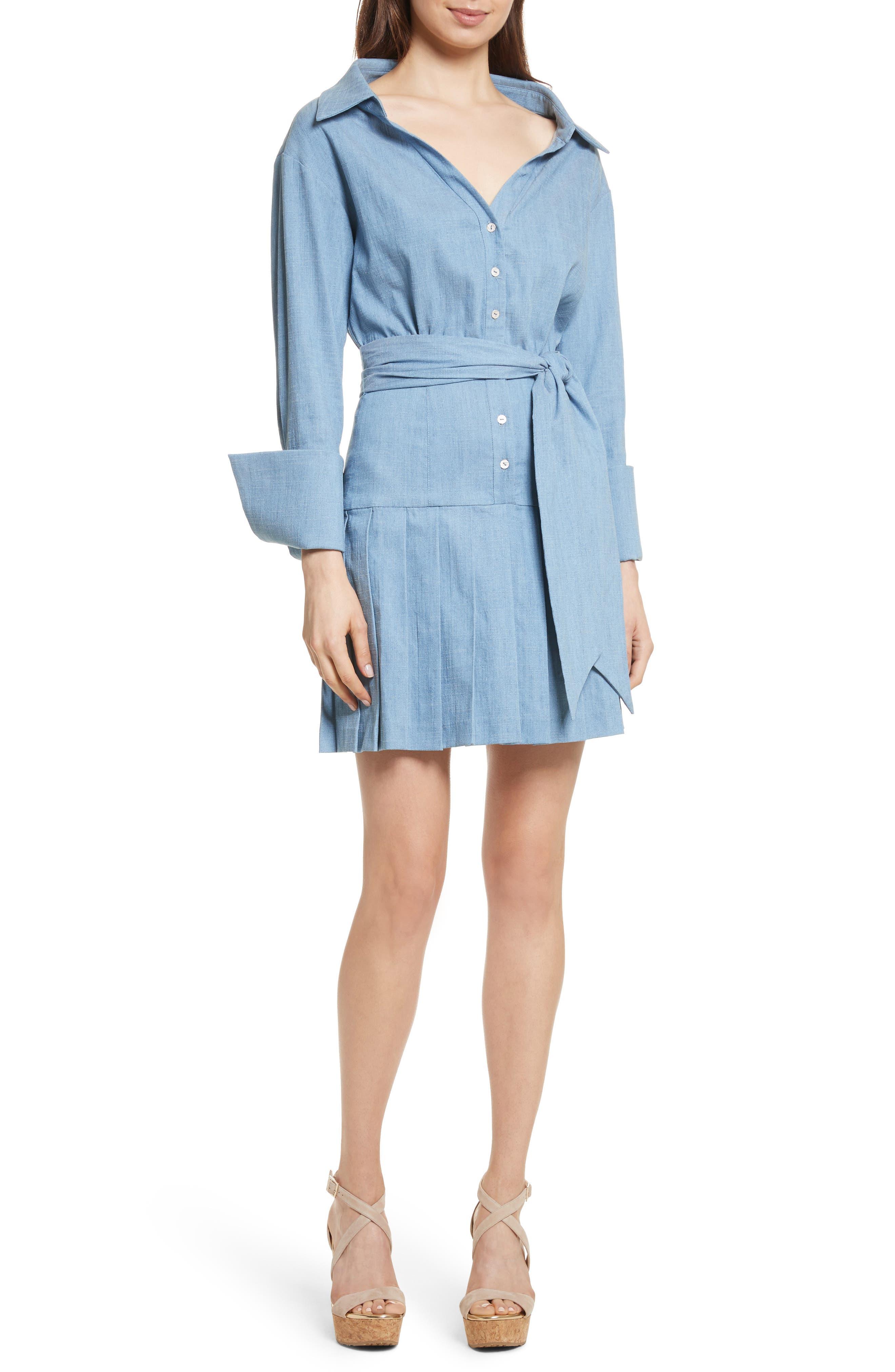 Amanda Belted Shirtdress,                         Main,                         color, Light Washed Denim