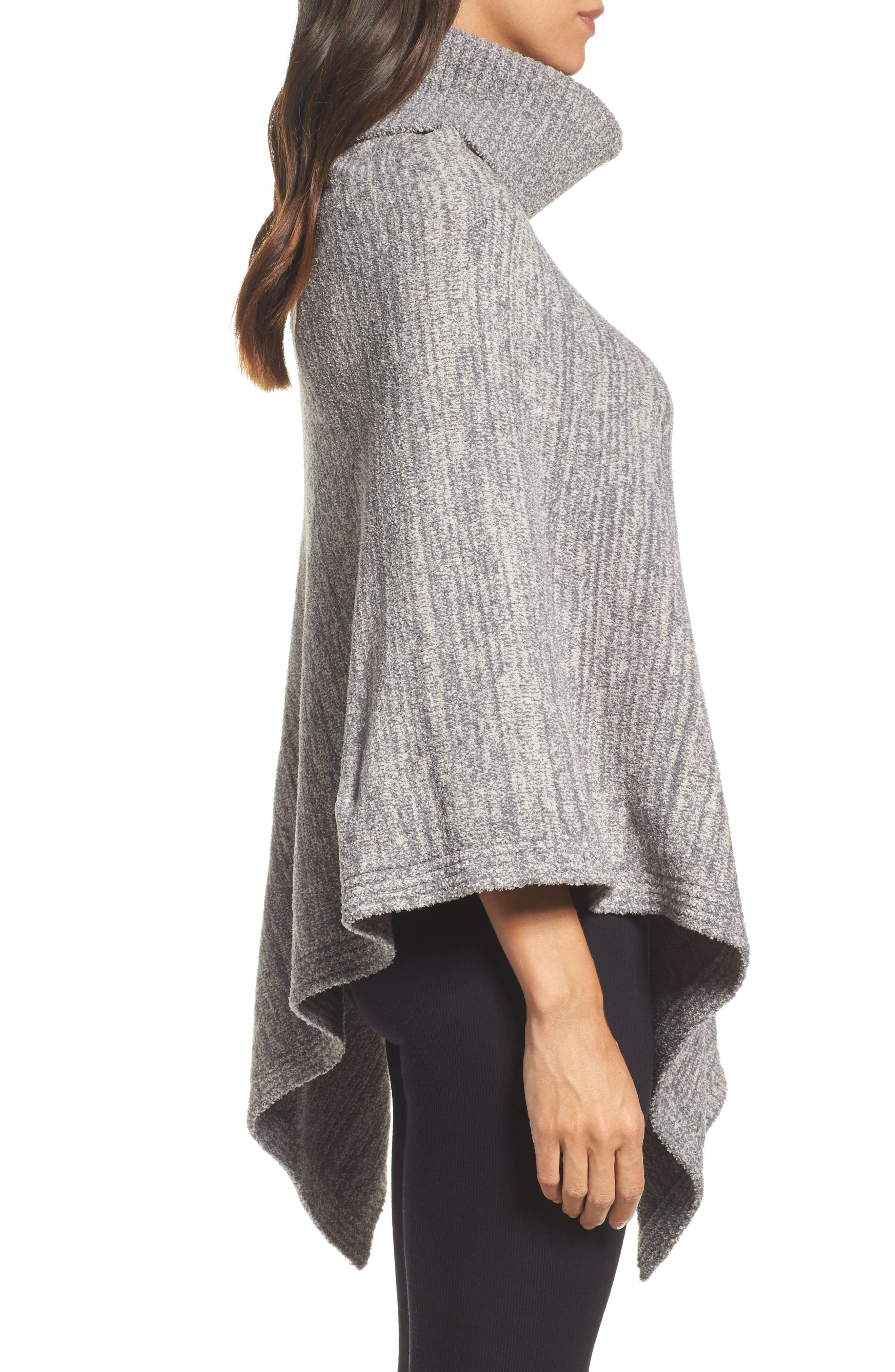 Cozychic<sup>®</sup> Point Dume Poncho,                             Alternate thumbnail 3, color,                             Graphite/ Stone Heathered
