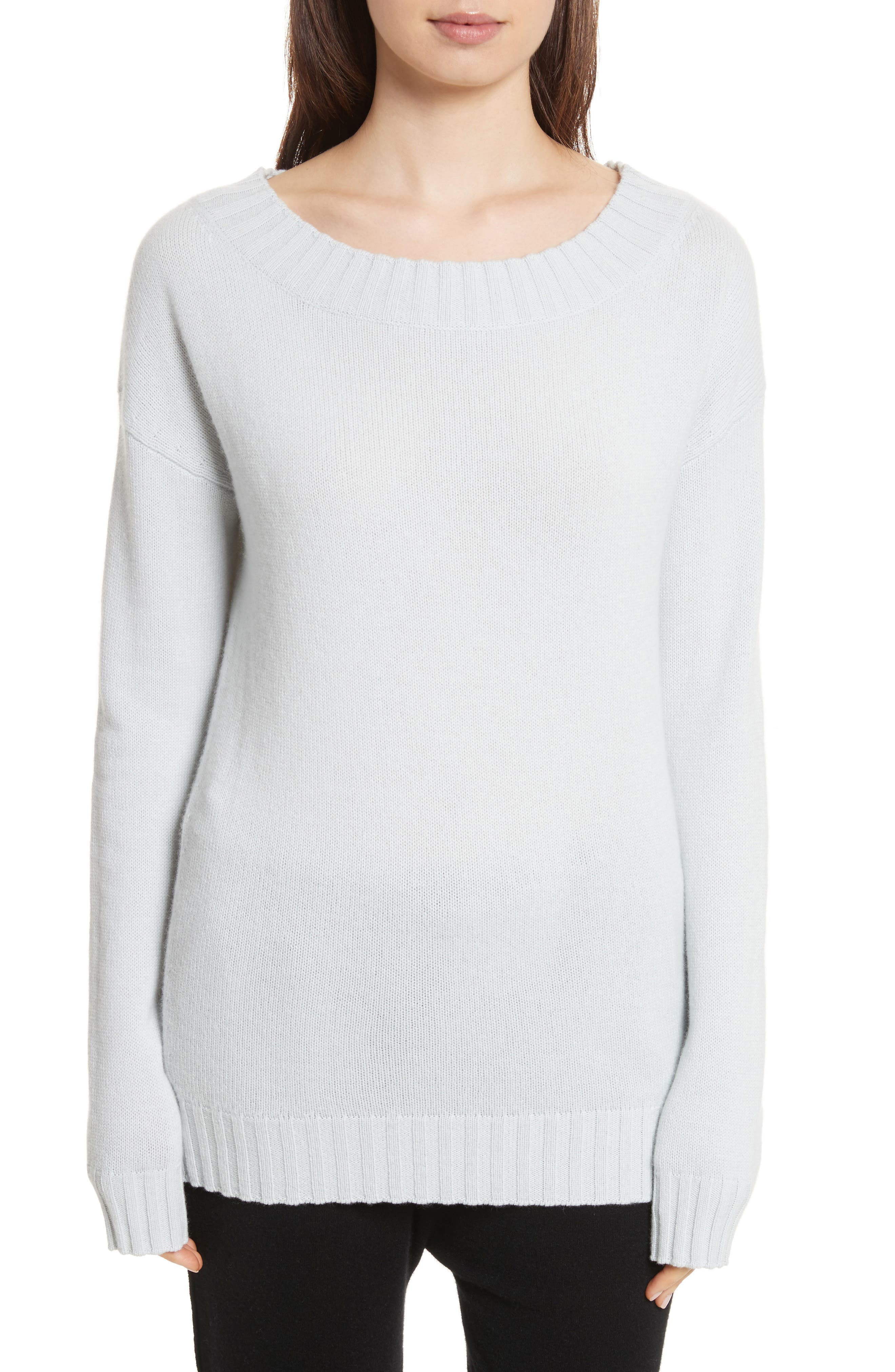 Off the Shoulder Wool & Cashmere Sweater,                             Main thumbnail 1, color,                             Sea