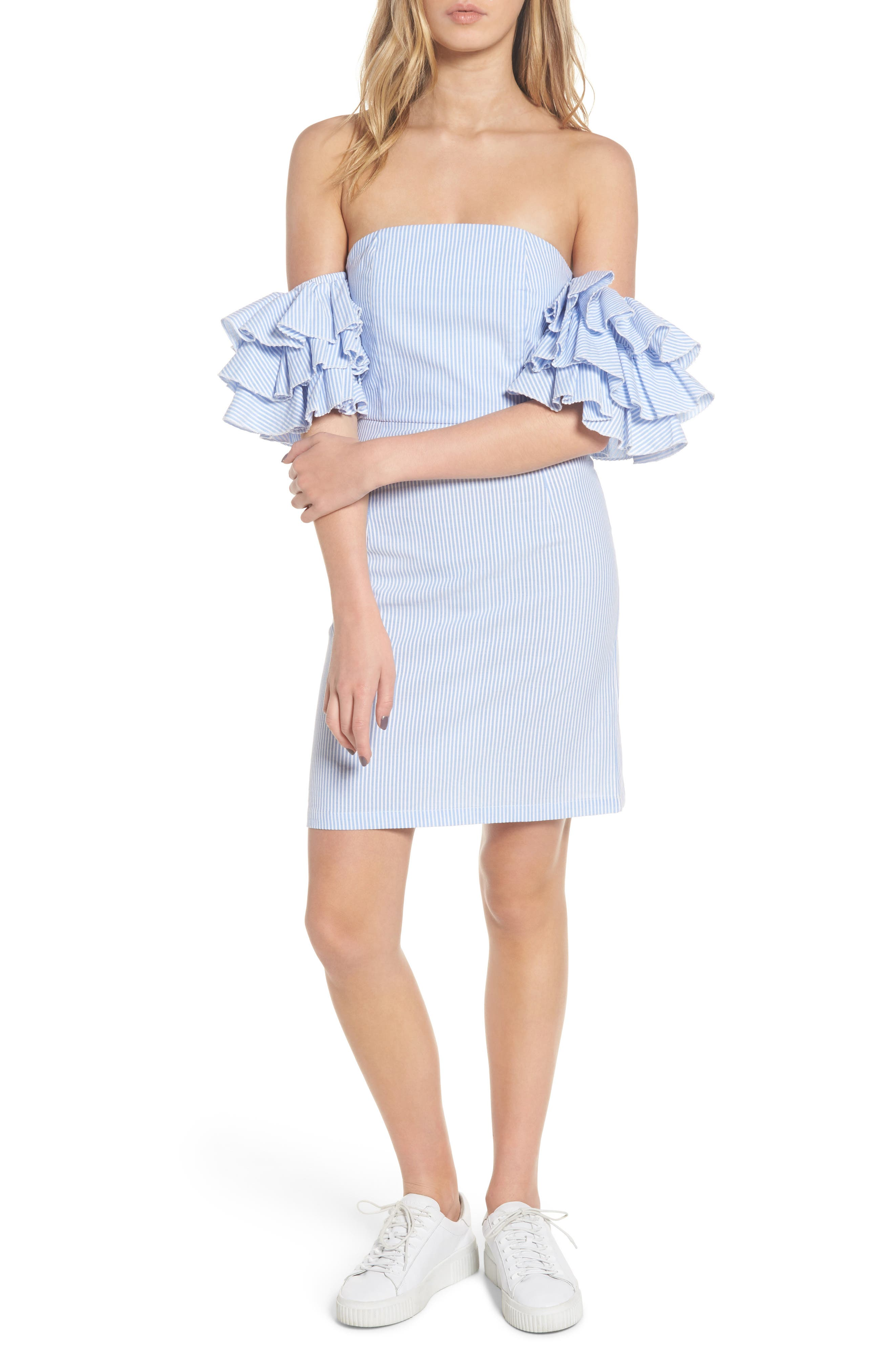 The Malibu Off the Shoulder Dress,                             Main thumbnail 1, color,                             Pinstriped Blue