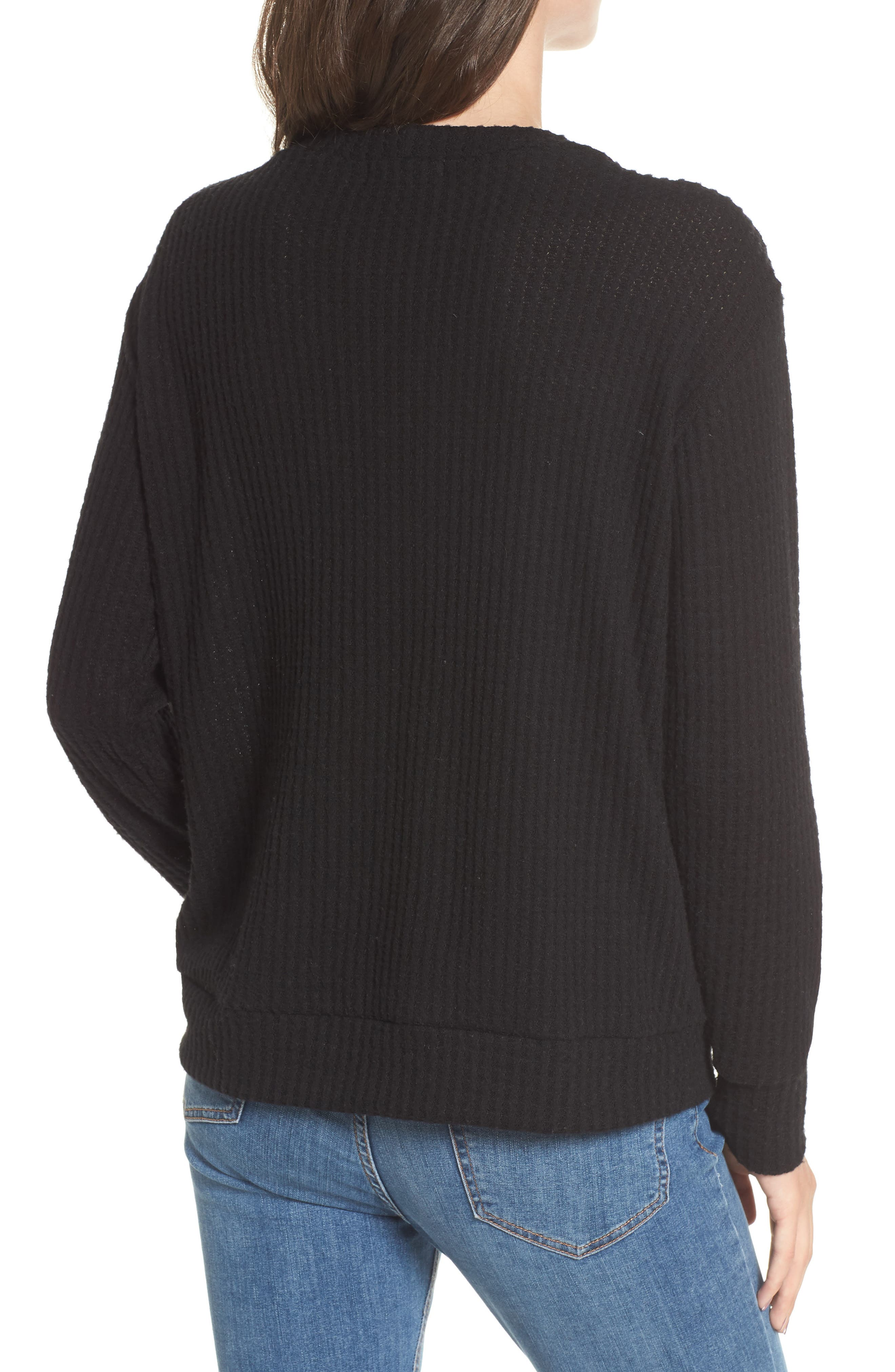Lace-Up Waffle Knit Sweater,                             Alternate thumbnail 2, color,                             Black