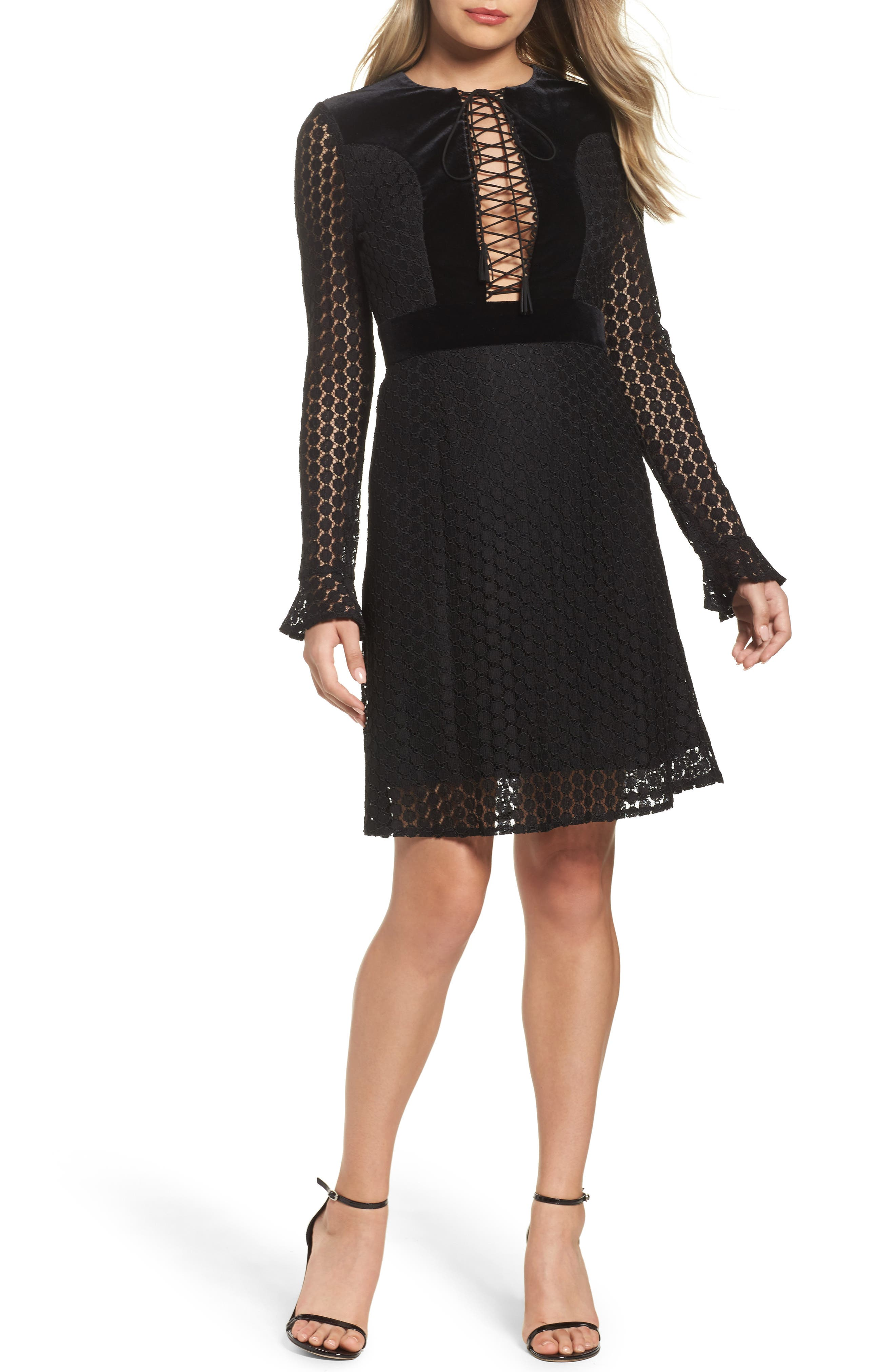 Alternate Image 1 Selected - Foxiedox Pearl Lace & Velvet Fit & Flare Dress