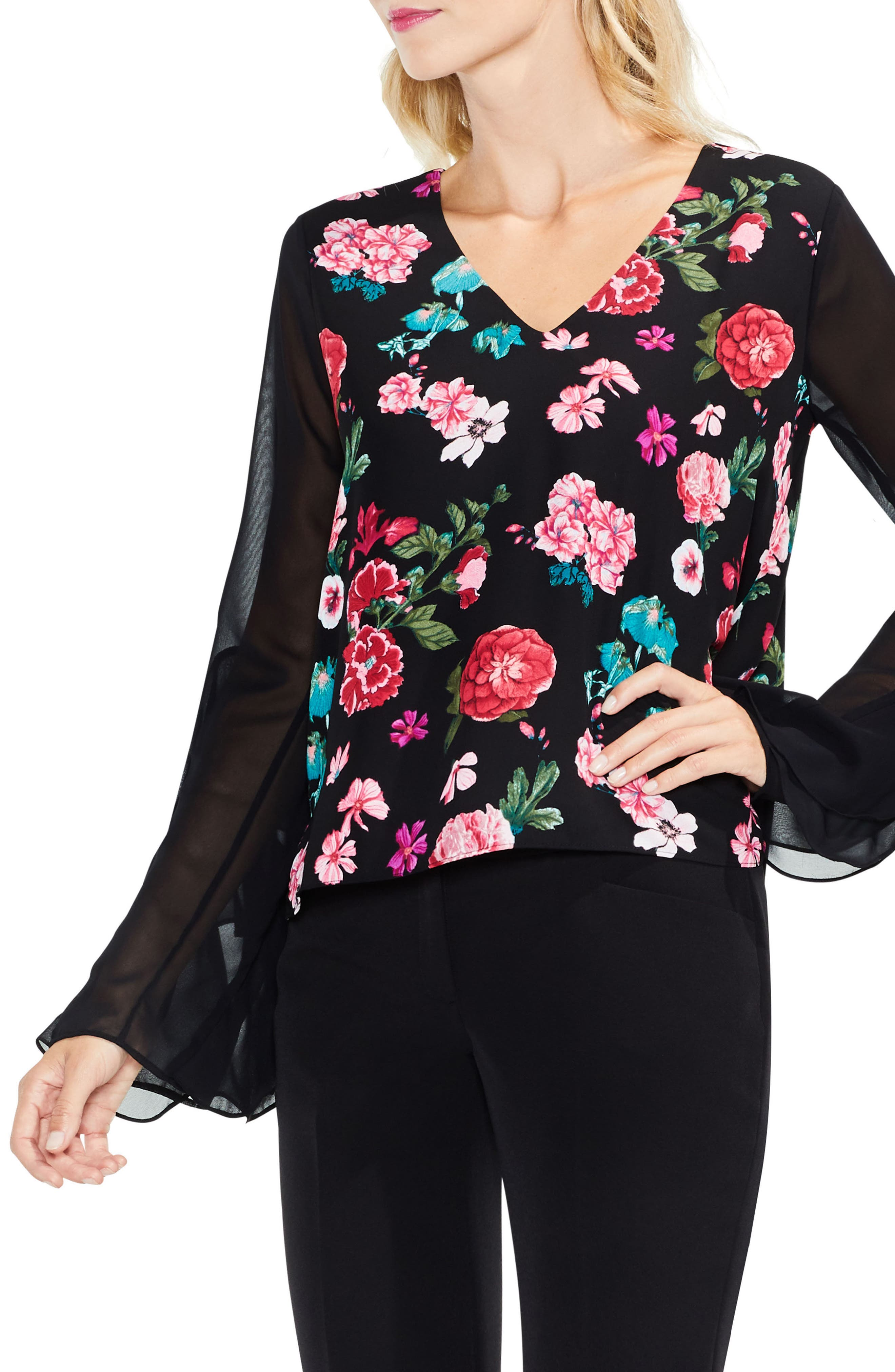 Floral Heirloom Ruffle Sleeve Top,                         Main,                         color, Rich Black