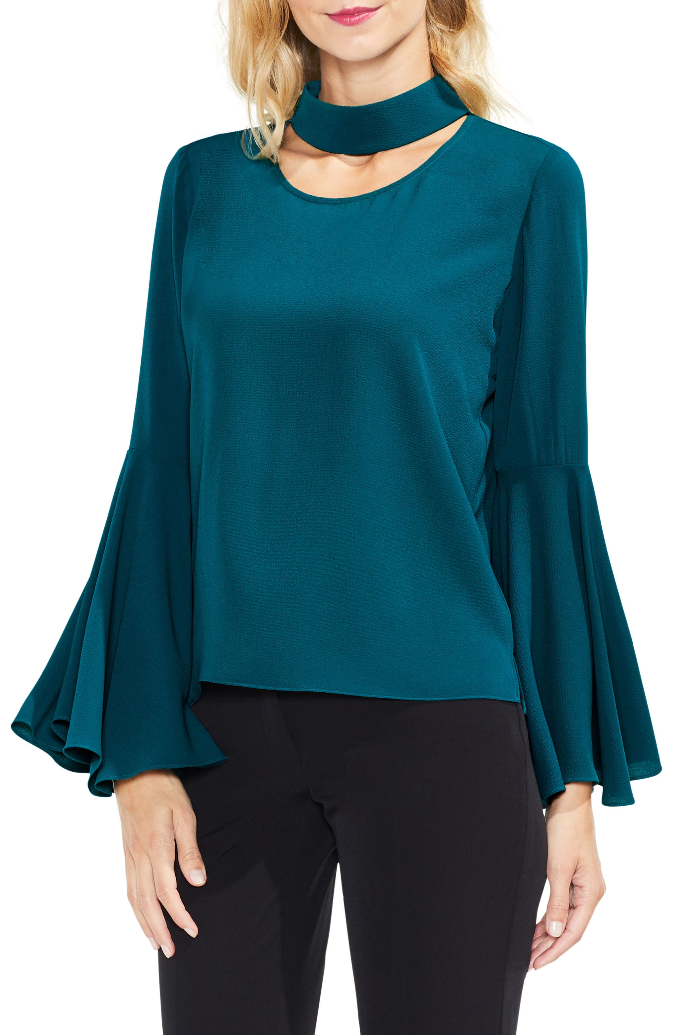 Bell Sleeve Choker Neck Blouse,                         Main,                         color, Dark Peacock