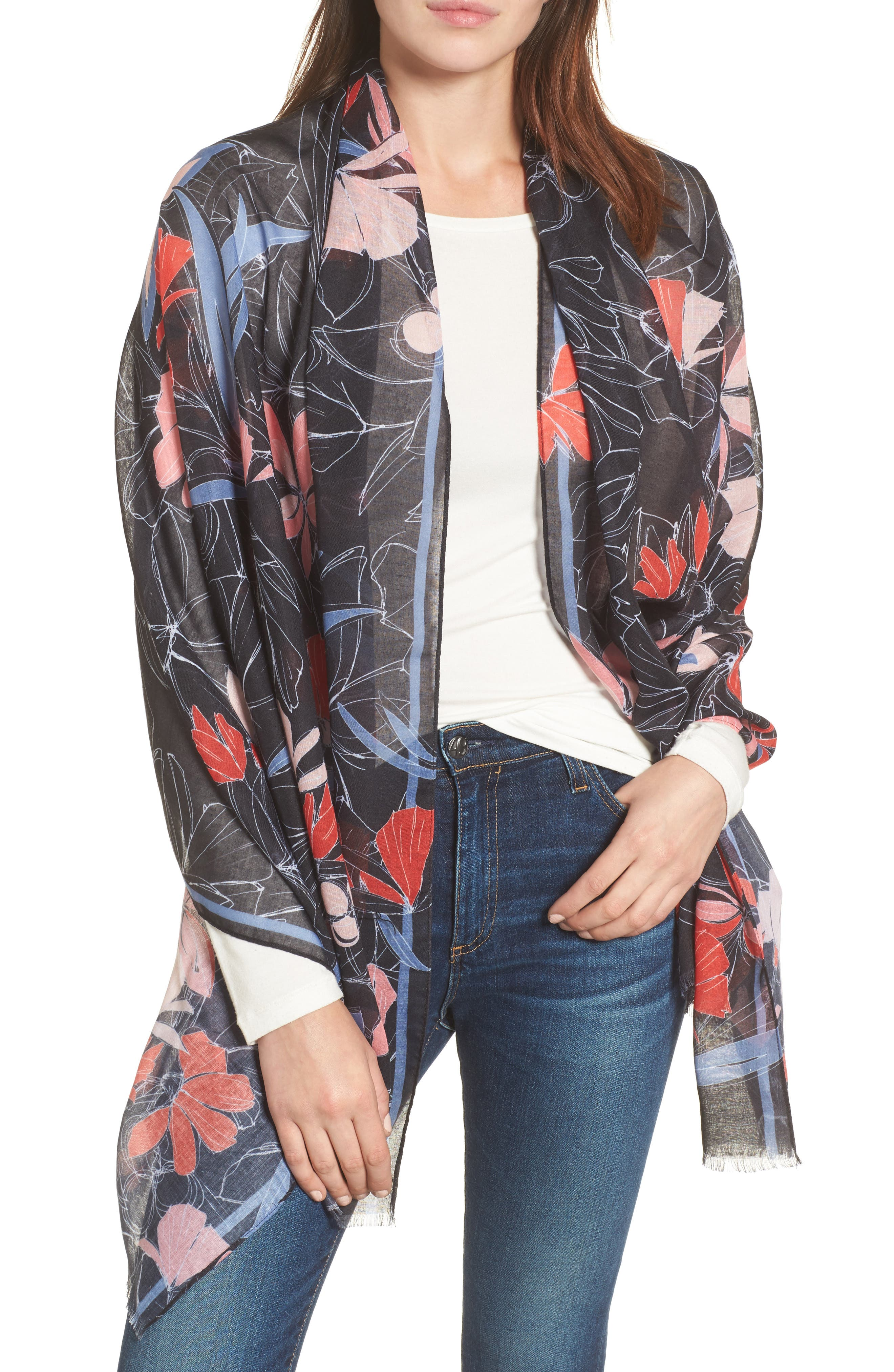 Print Wrap Scarf,                             Main thumbnail 1, color,                             Black Scattered Garden