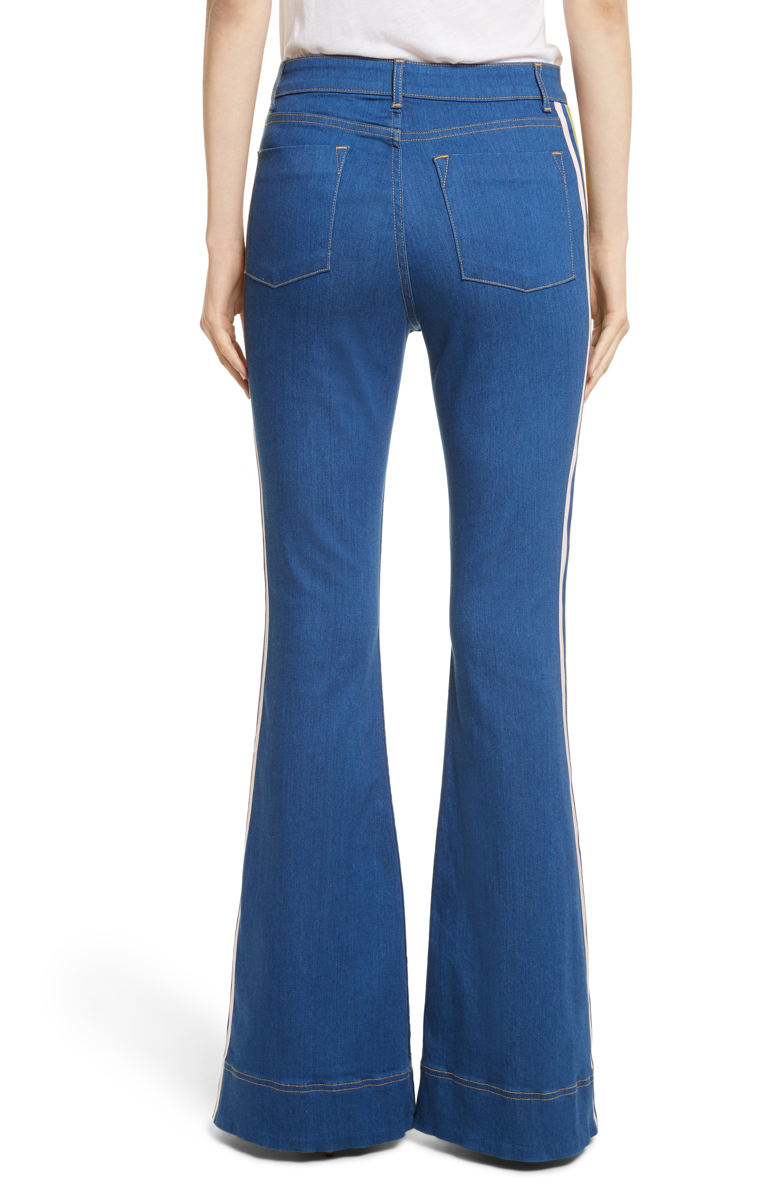 Kayleigh Bell Jeans,                             Alternate thumbnail 2, color,                             French Blue Multi