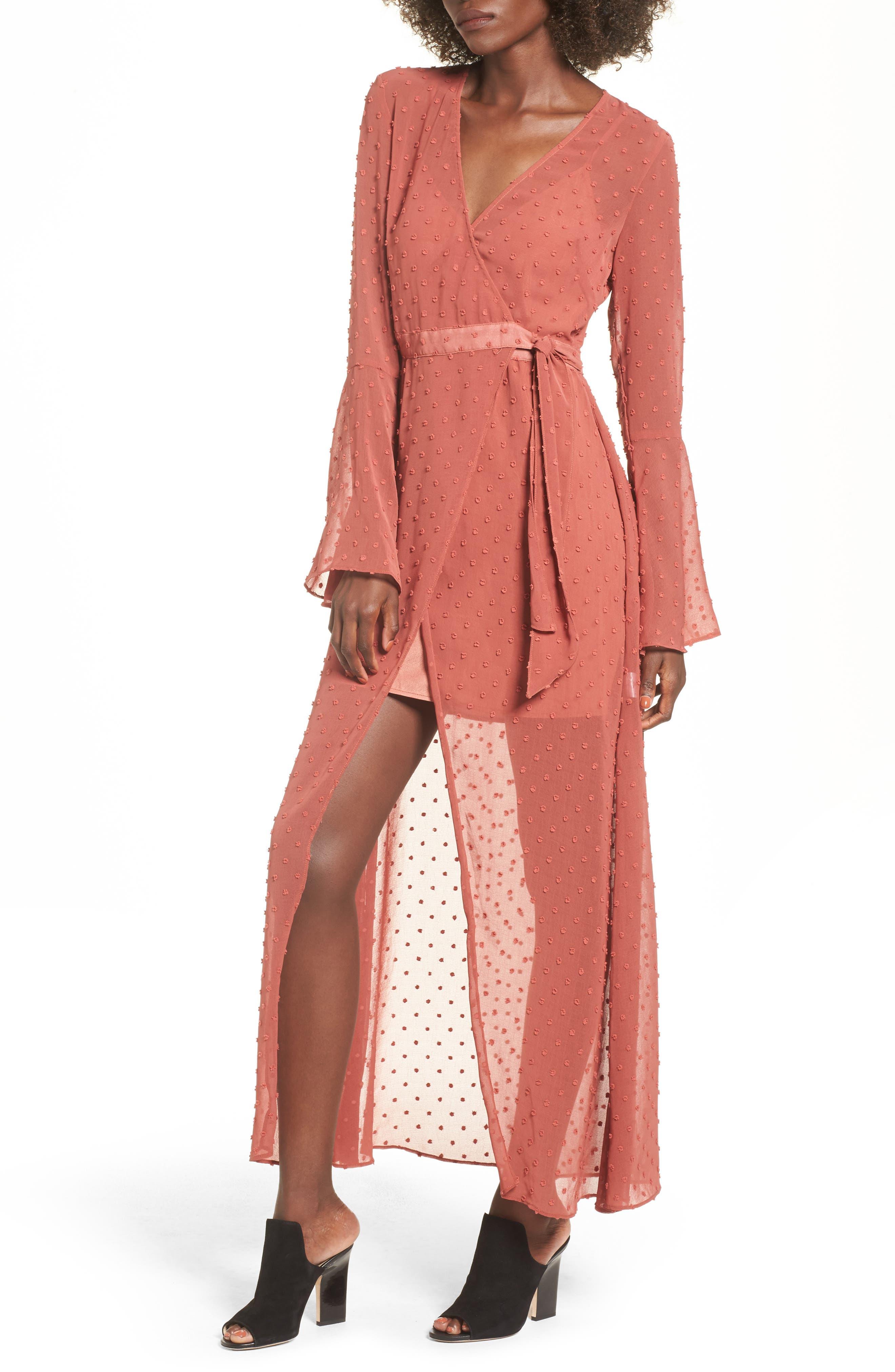 Freya Bell Sleeve Wrap Maxi Dress,                             Main thumbnail 1, color,                             Cinnamon