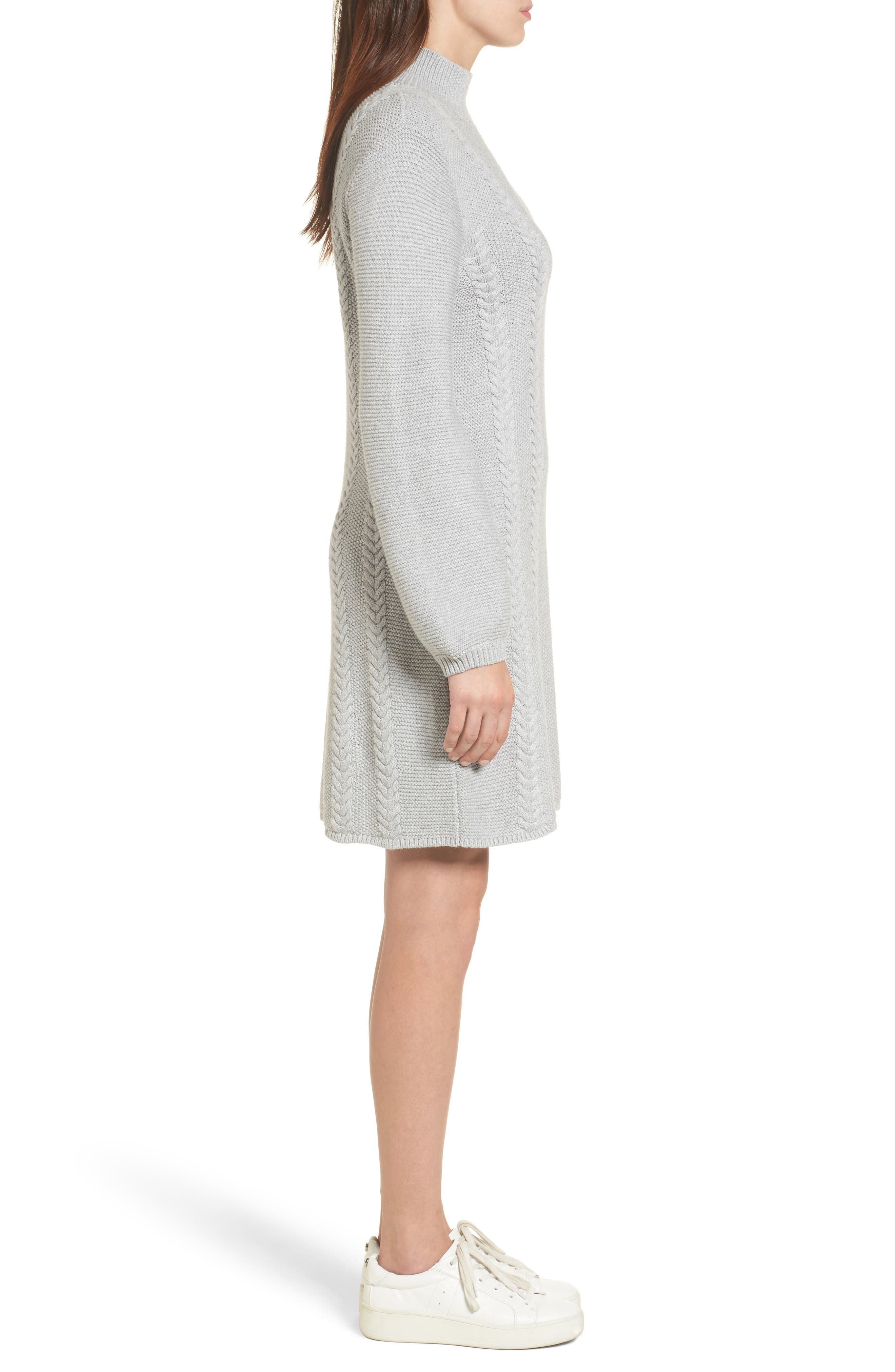Cable Knit Sweater Dress,                             Alternate thumbnail 3, color,                             Grey Heather