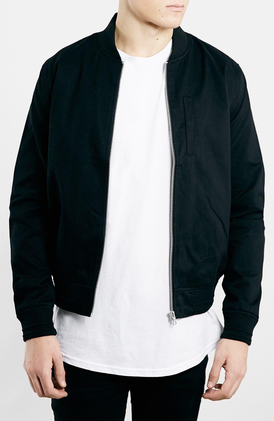 Topman Black Cotton Bomber Jacket | Nordstrom