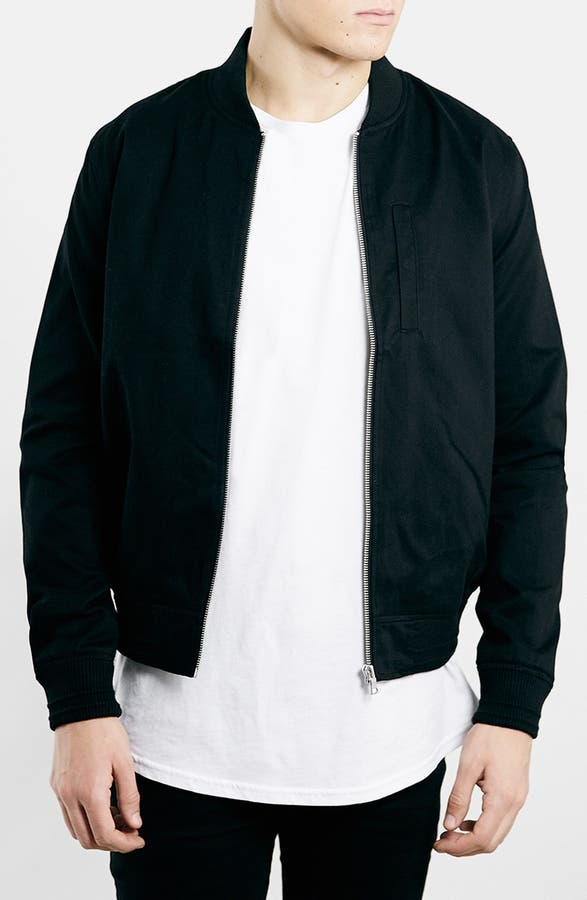Topman Black Cotton Bomber Jacket | Nordstrom