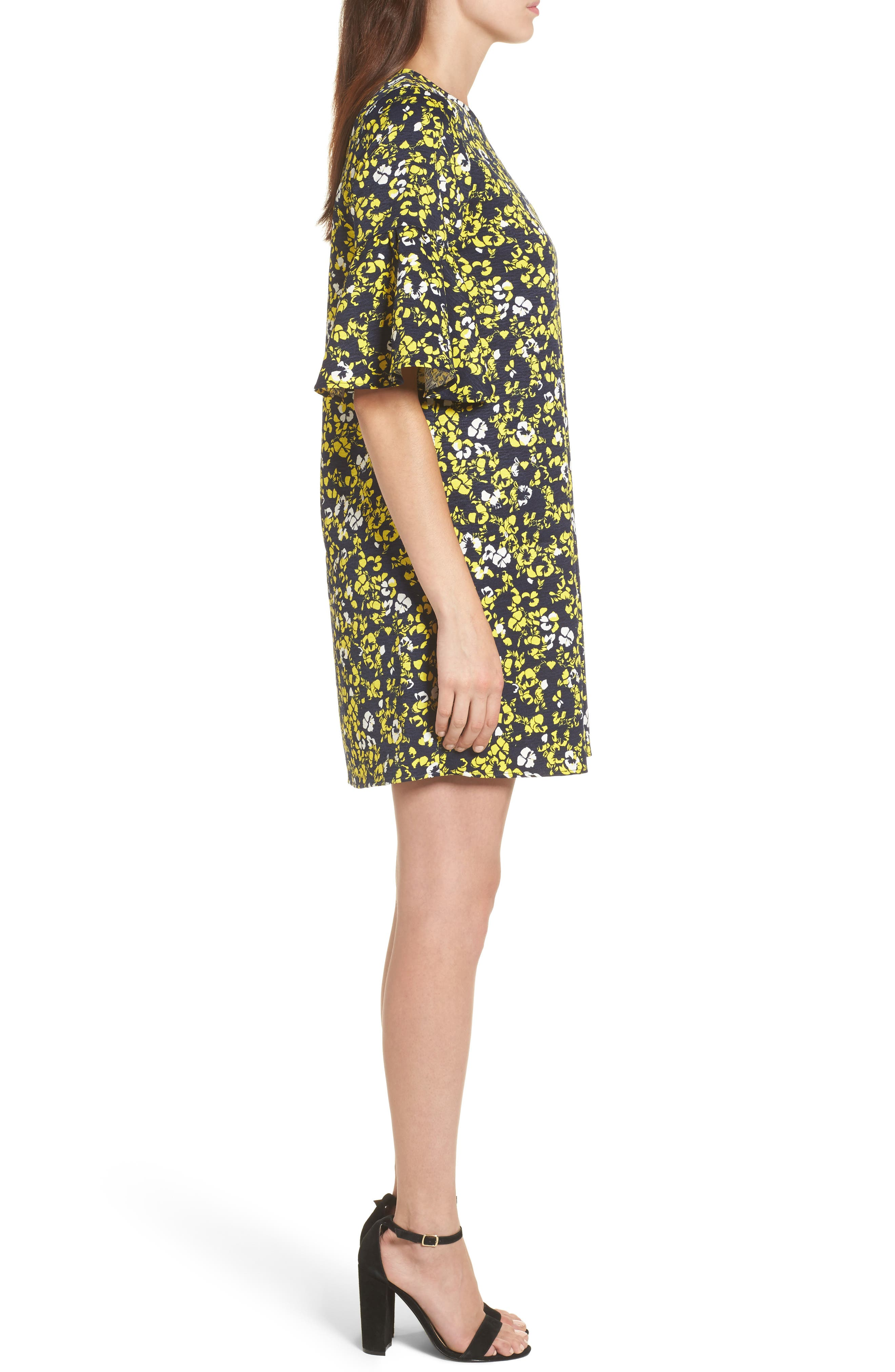 Ruffle Sleeve Shift Dress,                             Alternate thumbnail 3, color,                             Navy- Yellow Floral