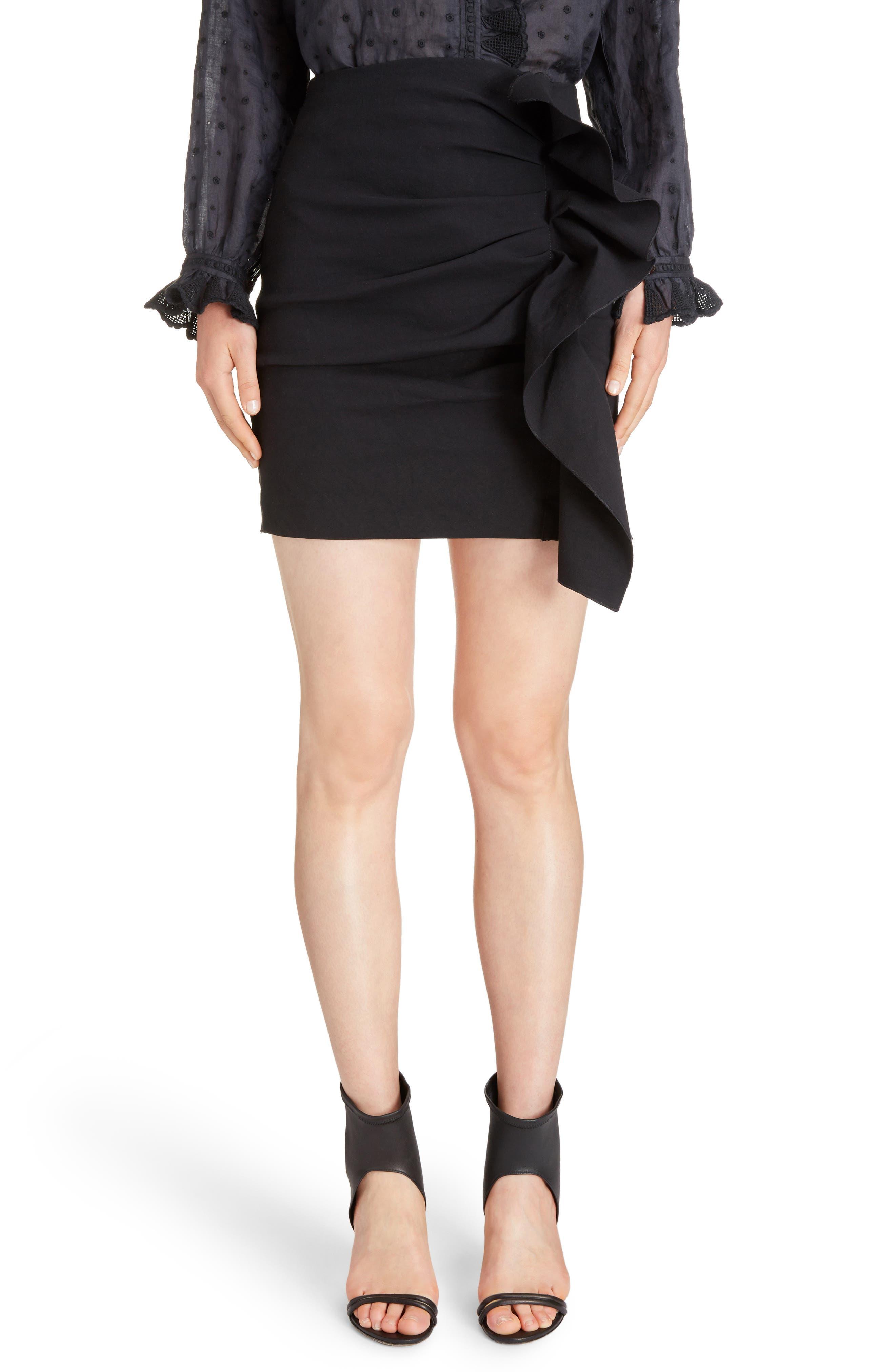 Lefly Ruffle Miniskirt,                             Main thumbnail 1, color,                             Black